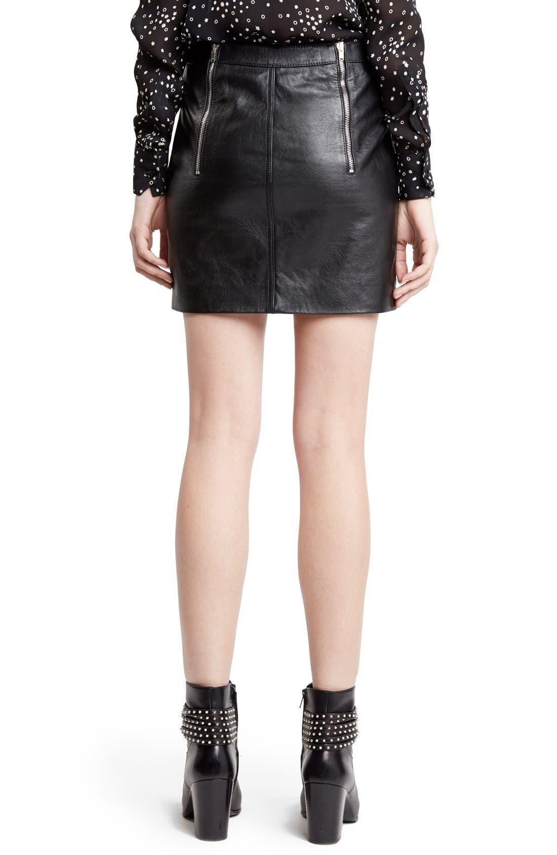 Zip Detail Lambskin Leather Miniskirt,                             Alternate thumbnail 2, color,                             001