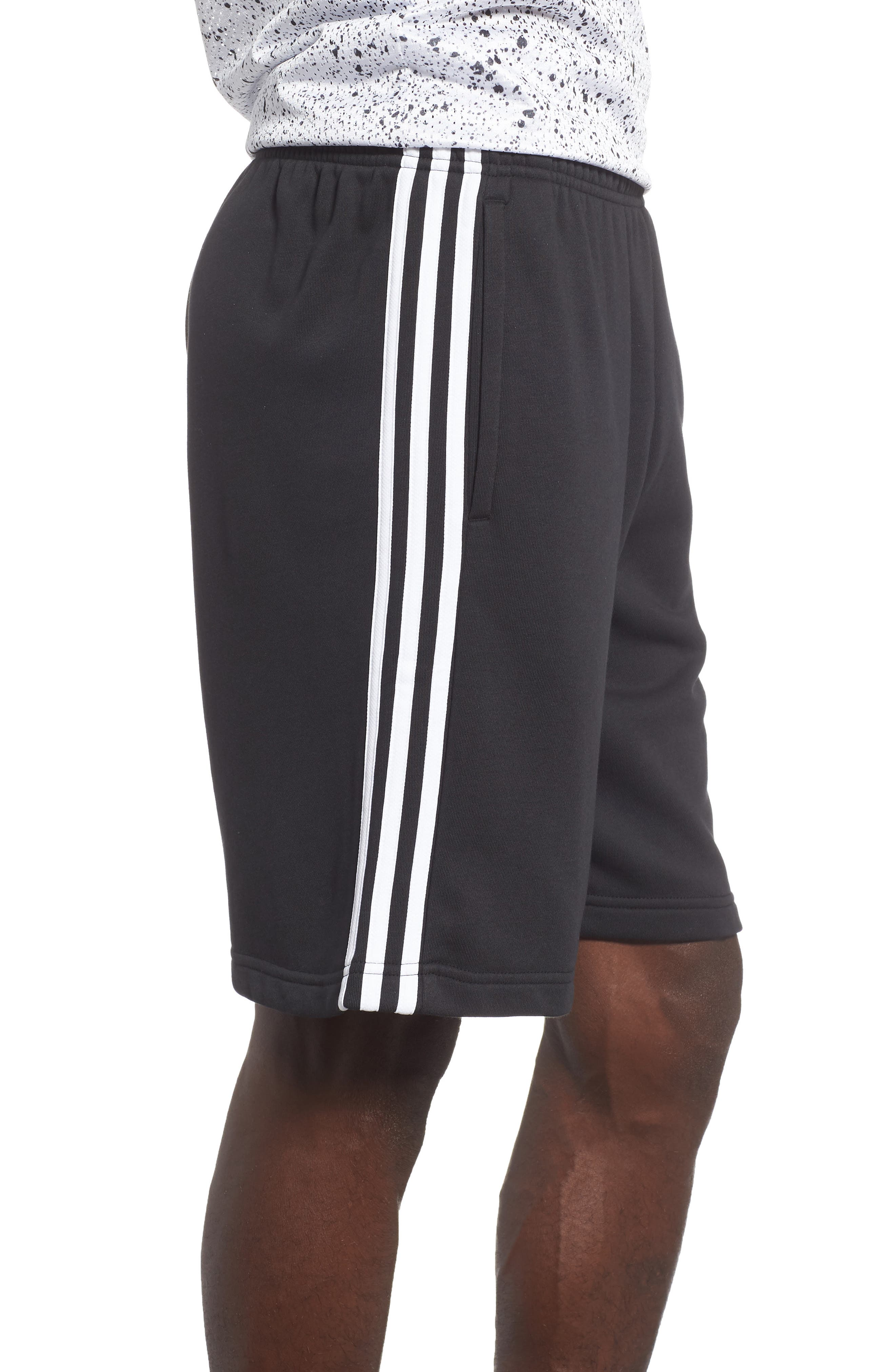 ADIDAS,                             Essentials French Terry Shorts,                             Alternate thumbnail 3, color,                             BLACK/ WHITE