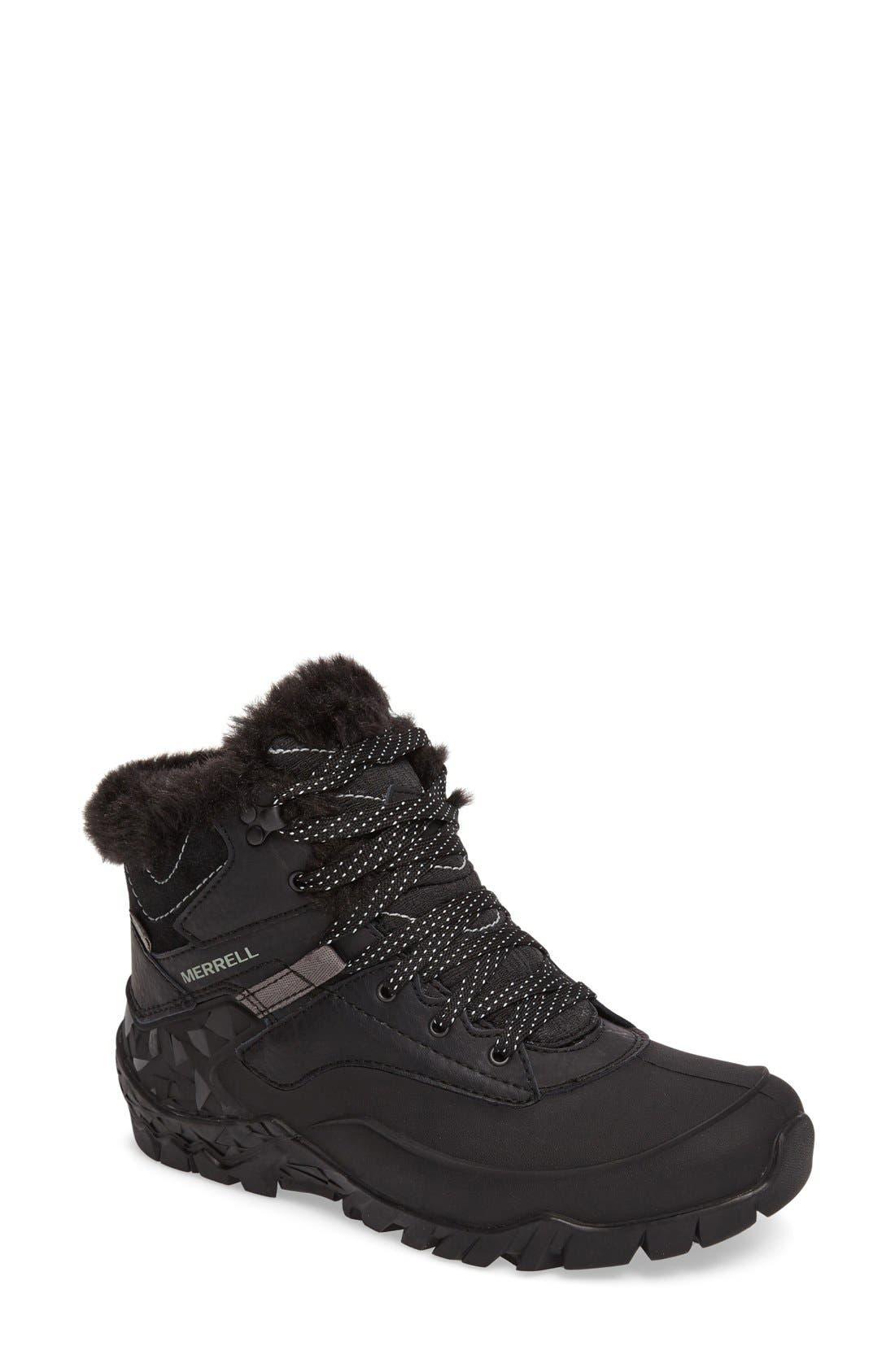 Merrell Aurora 6 Waterproof Faux Fur Lined Boot, Black