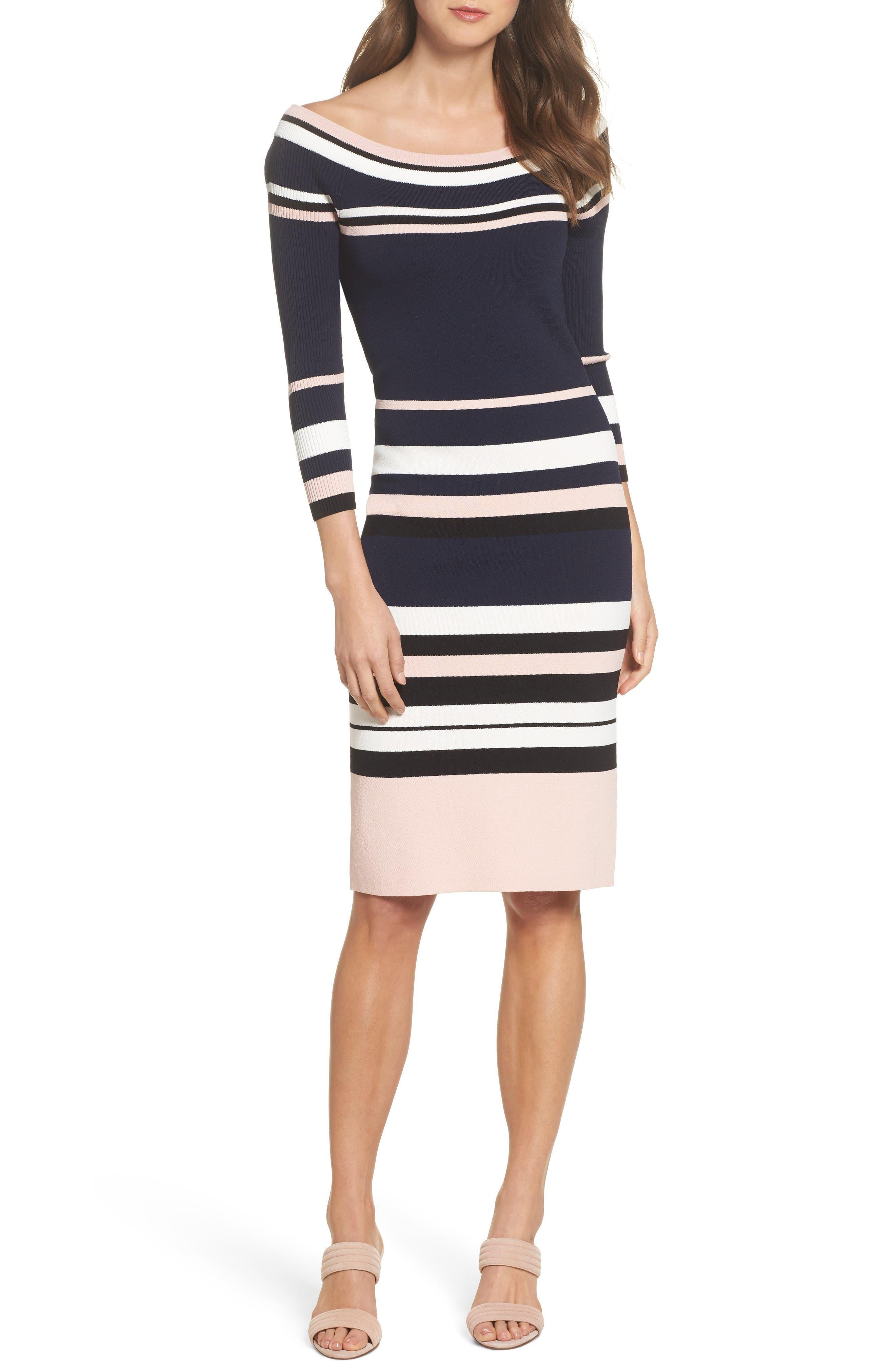 Stripe Sweater Dress,                             Main thumbnail 1, color,                             498
