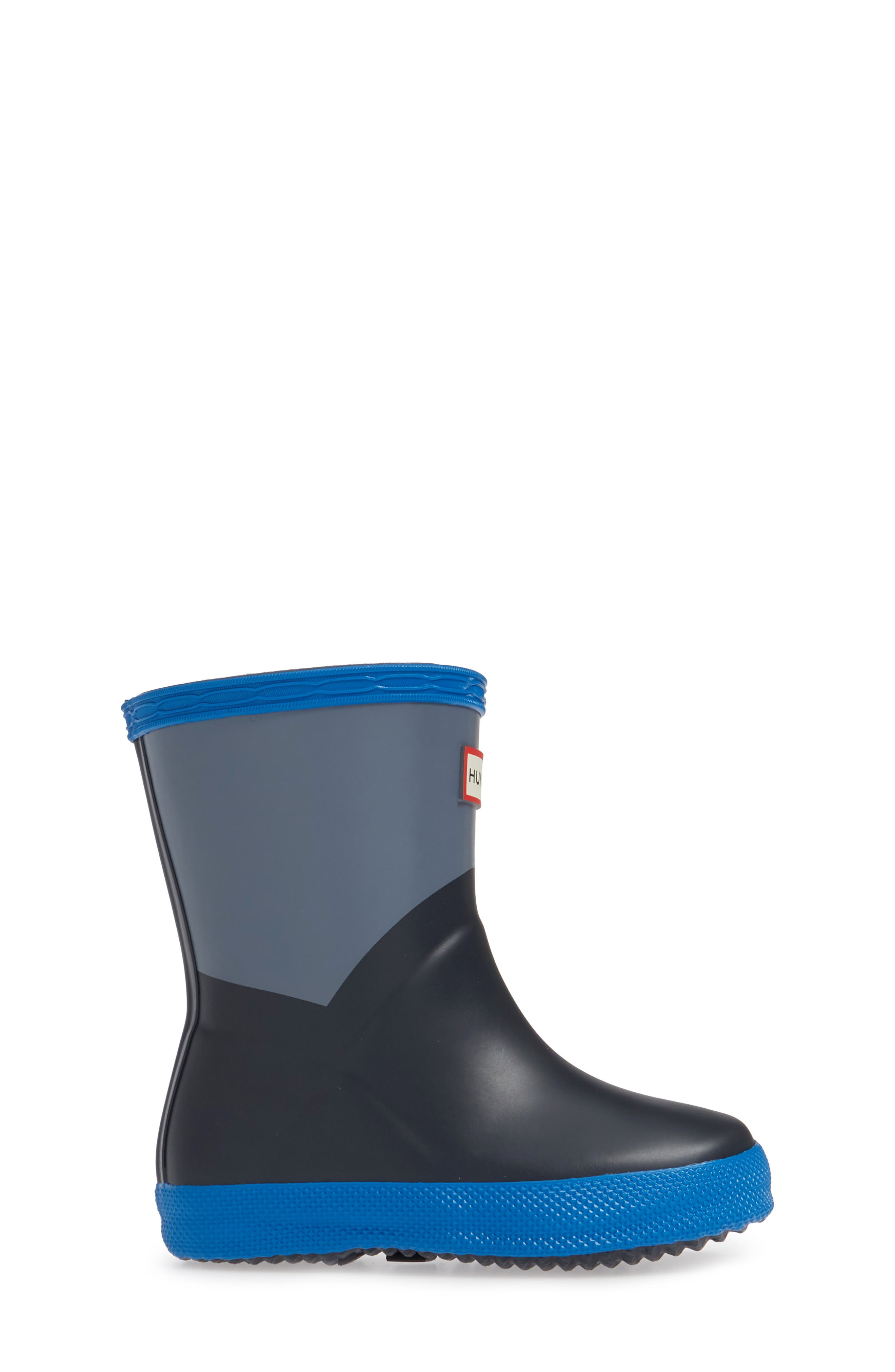HUNTER,                             First Classic Waterproof Rain Boot,                             Alternate thumbnail 3, color,                             GULL GREY/ BUCKET BLUE/ NAVY