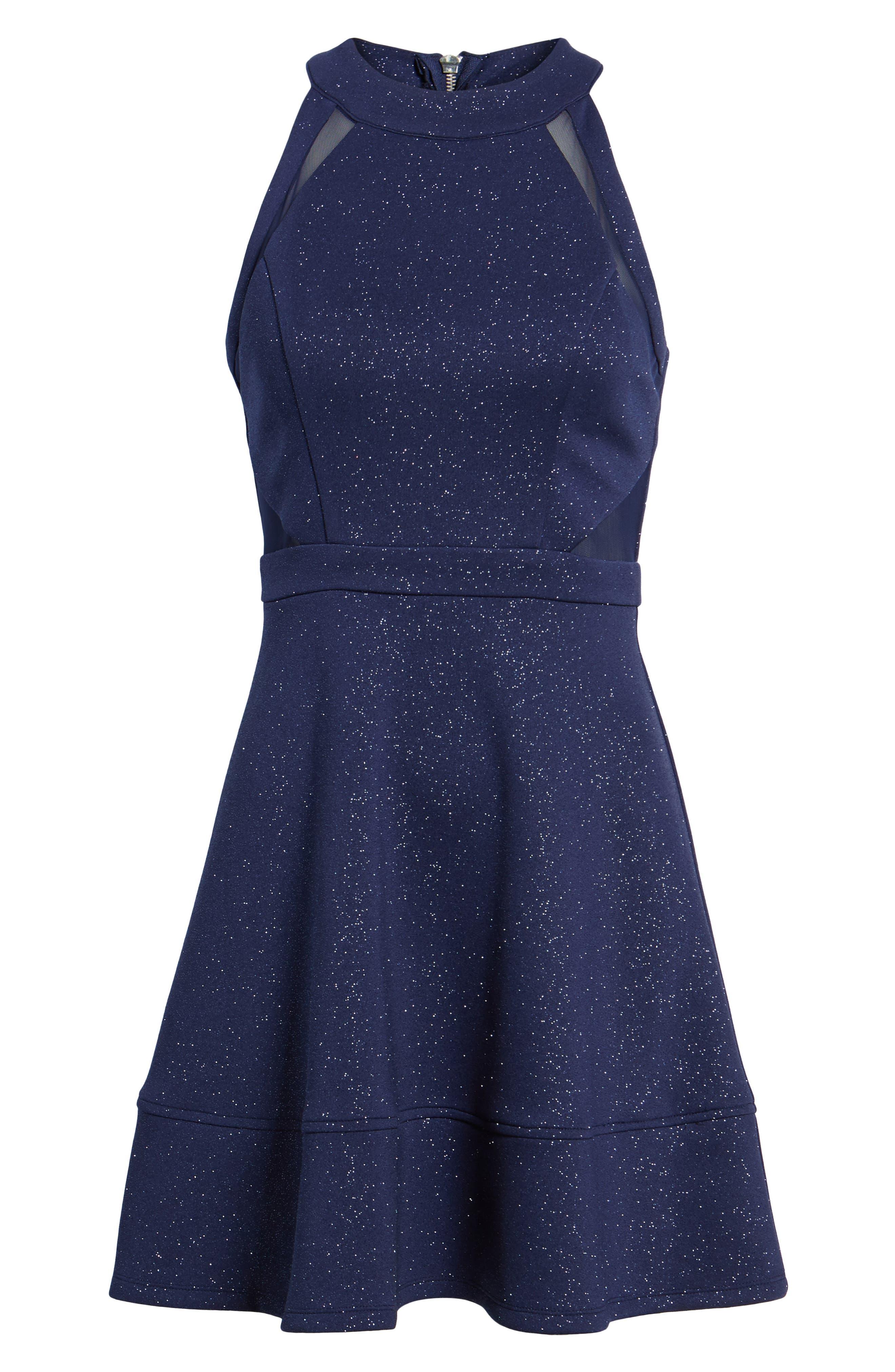 Illusion Glitter Skater Dress,                             Alternate thumbnail 6, color,                             400