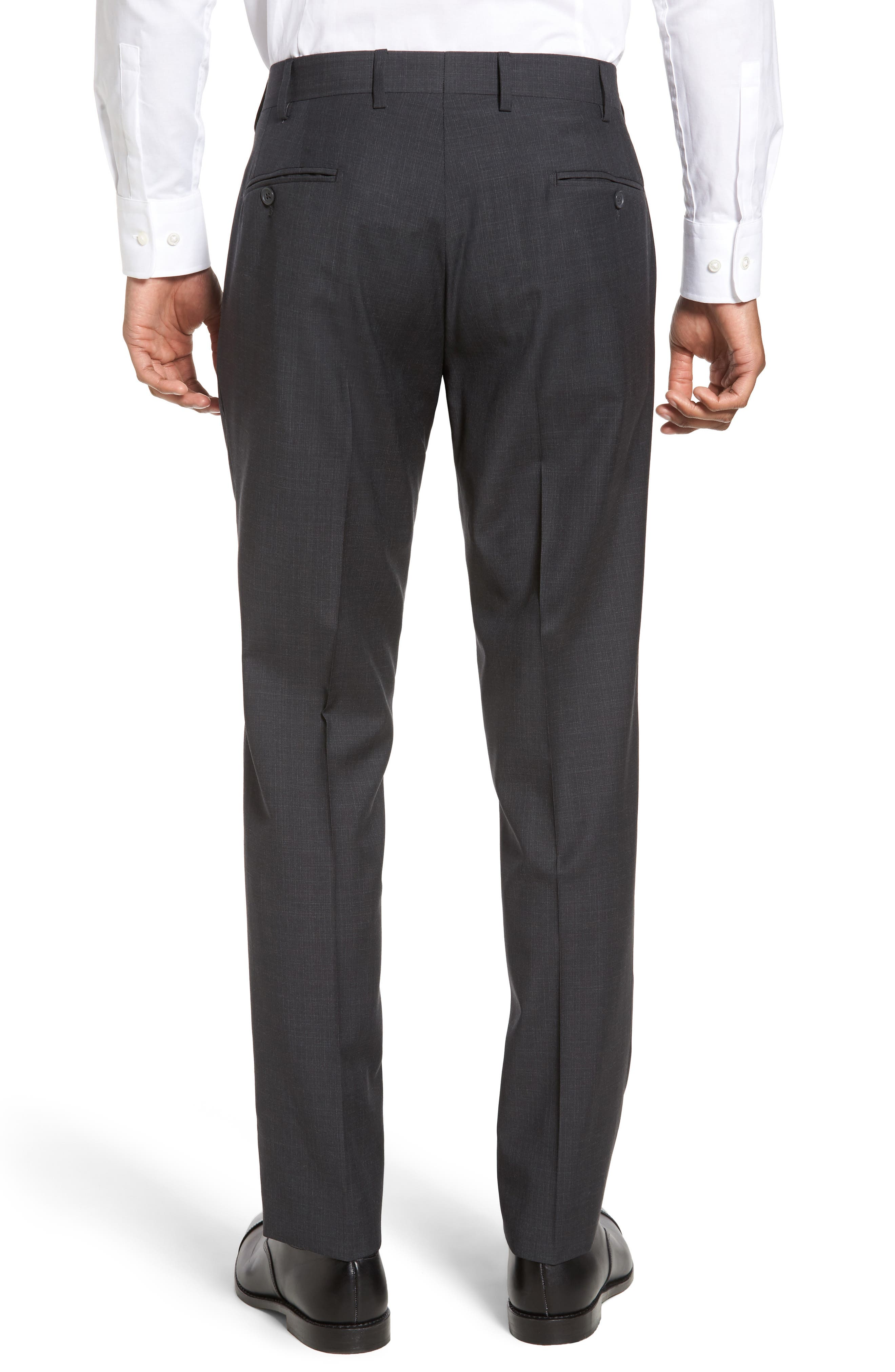Flat Front Solid Wool Trousers,                             Alternate thumbnail 8, color,