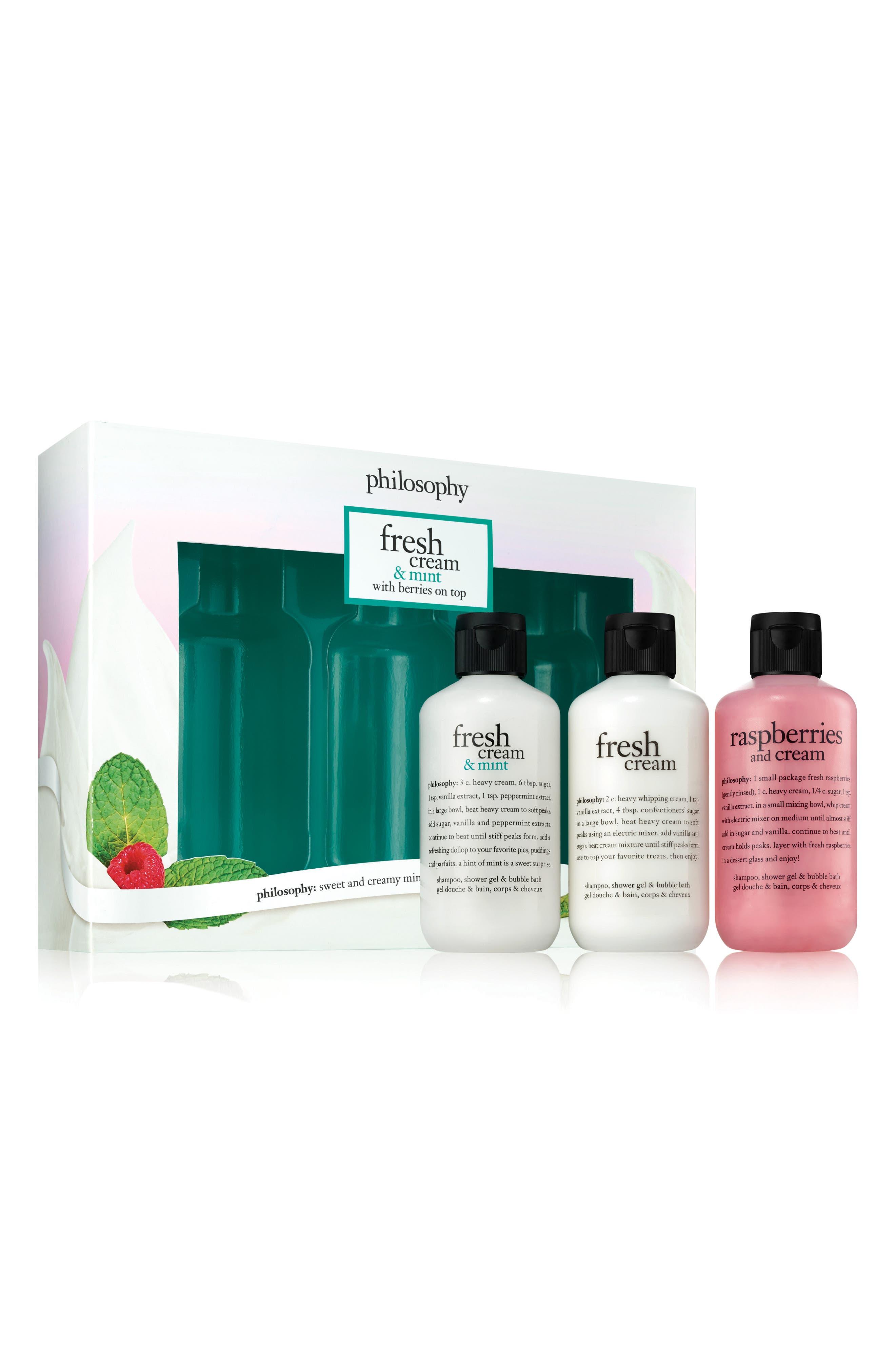 fresh cream shampoo, shower gel & bubble bath trio,                             Main thumbnail 1, color,                             000