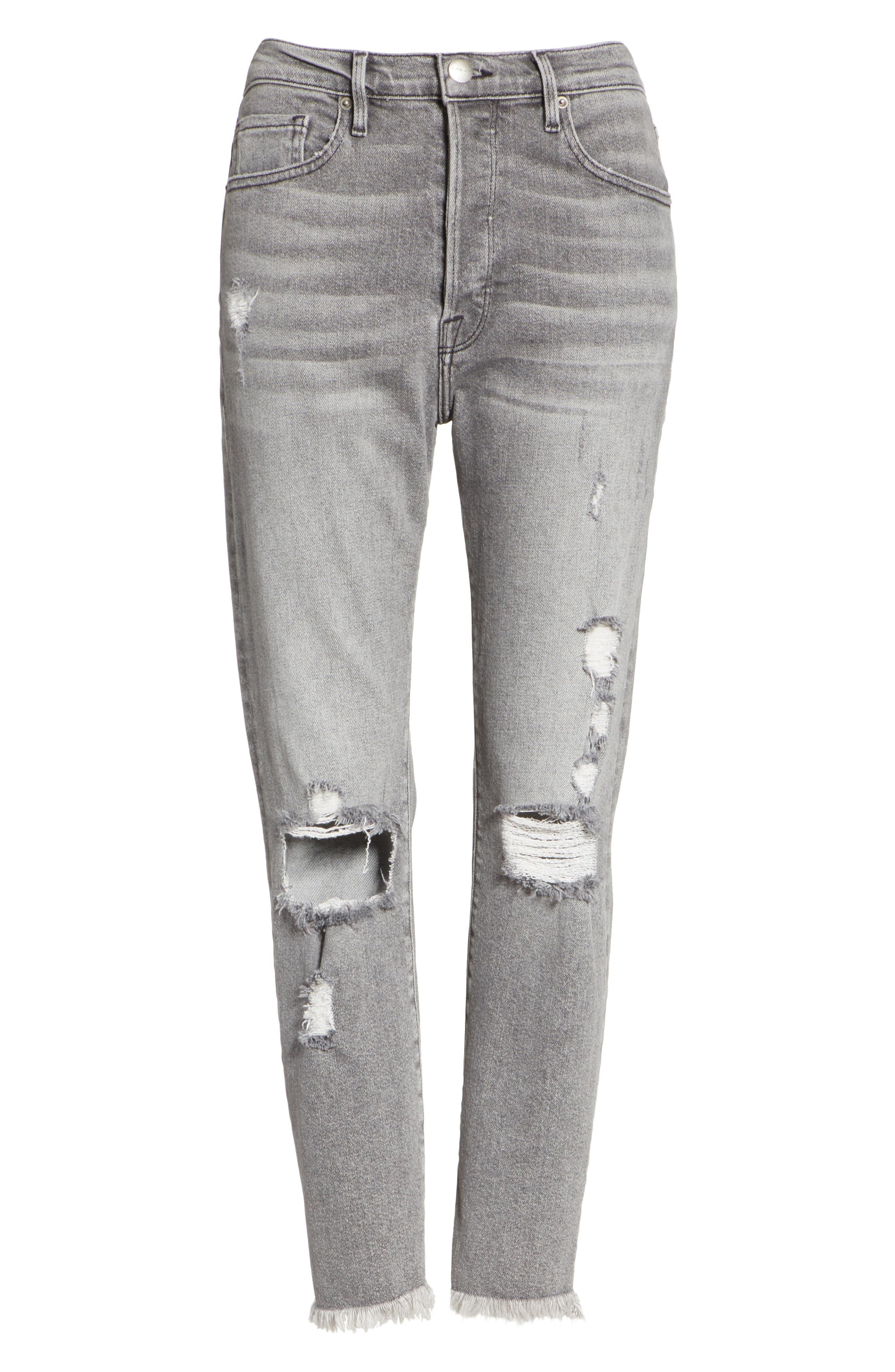 Le Original High Waist Raw Edge Jeans,                             Alternate thumbnail 6, color,                             COLD ASH