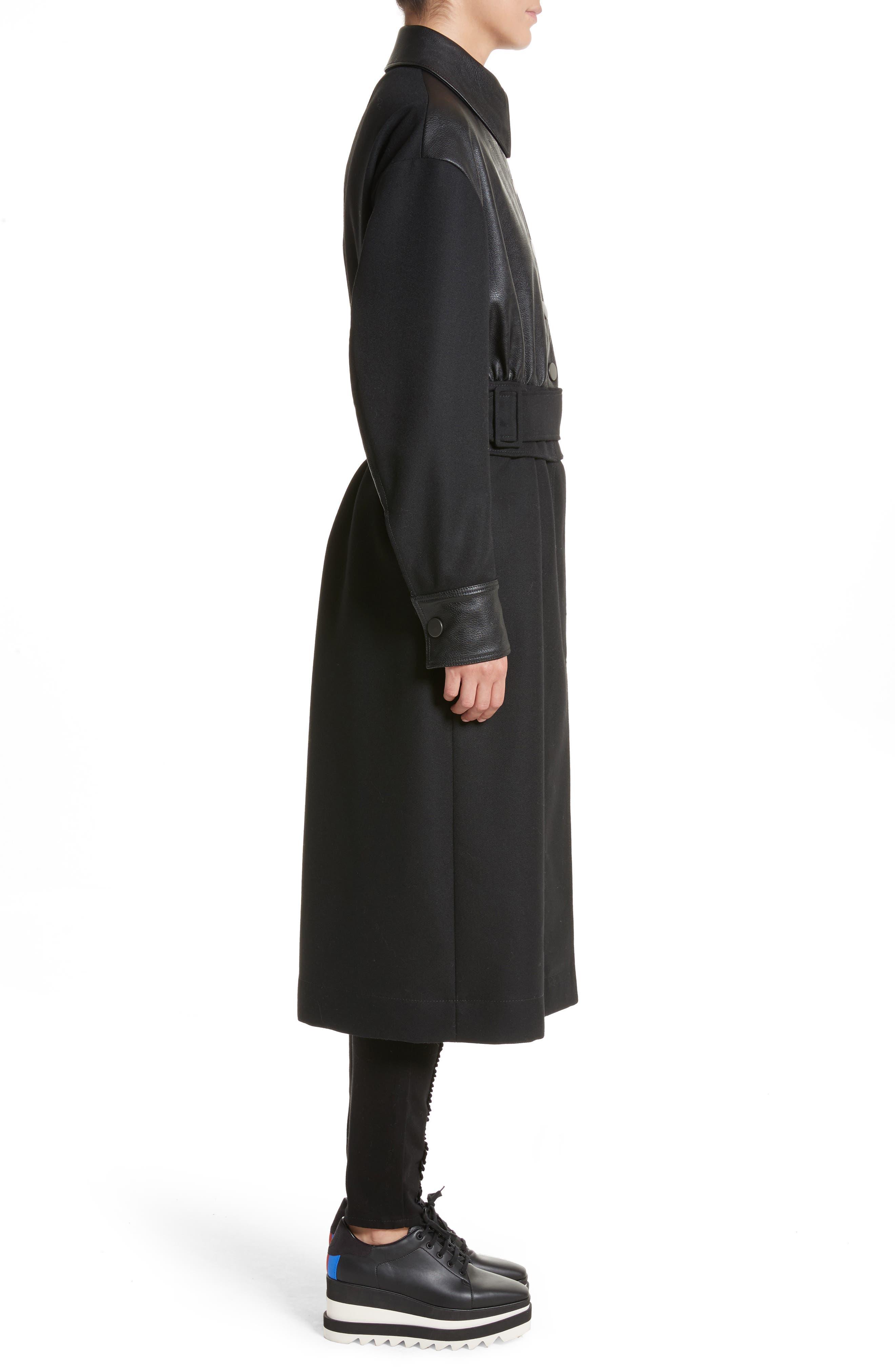 Eden Alter Leather Trim Wool Coat,                             Alternate thumbnail 3, color,                             001