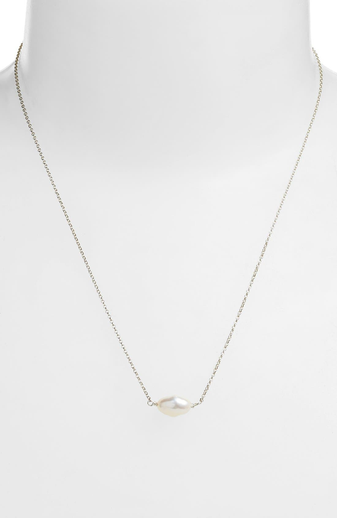 Keshi Cultured Pearl Necklace,                             Alternate thumbnail 2, color,                             STERLING WHITE PEARL