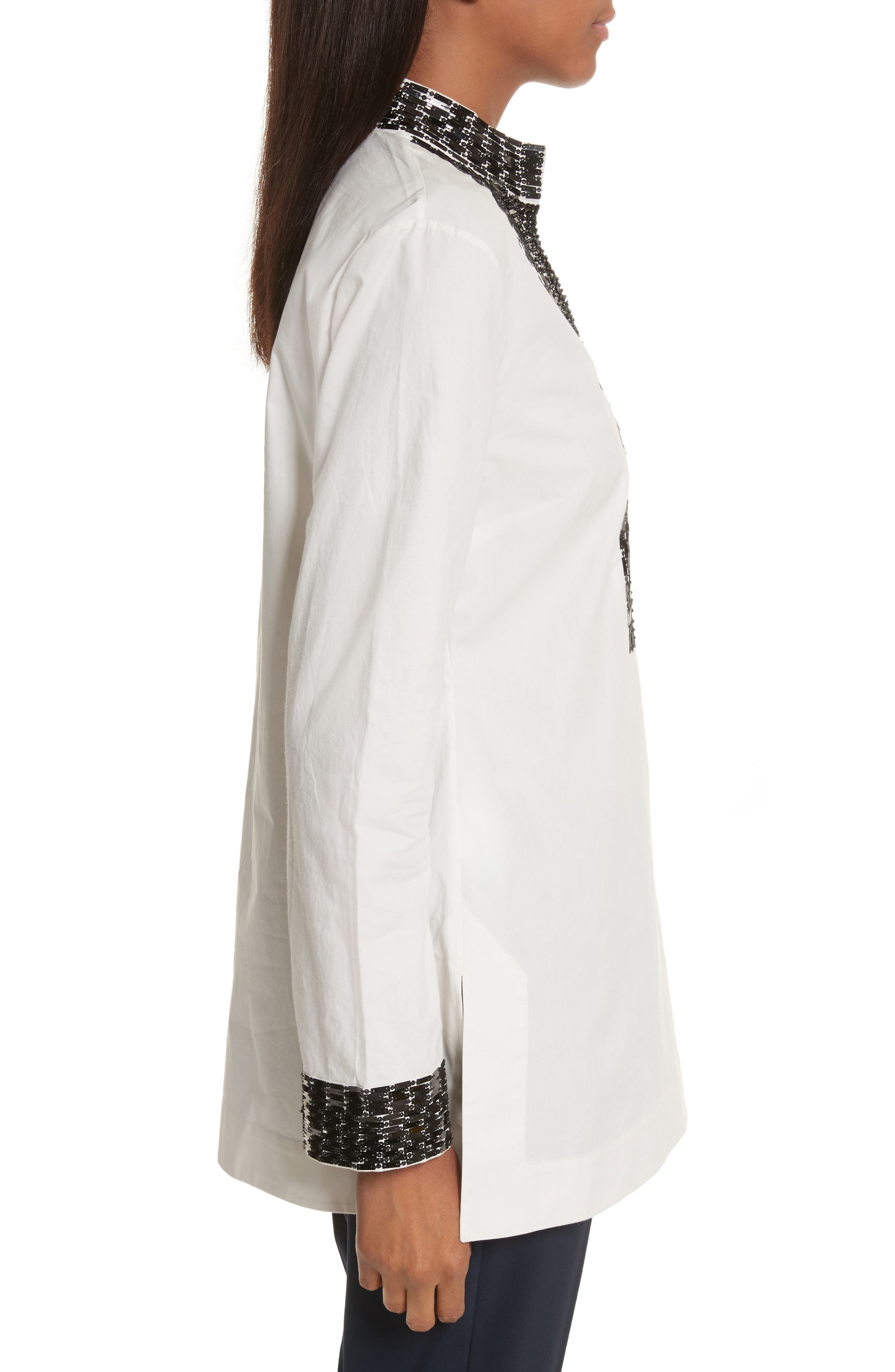Tory Embellished Cotton Tunic,                             Alternate thumbnail 3, color,                             904