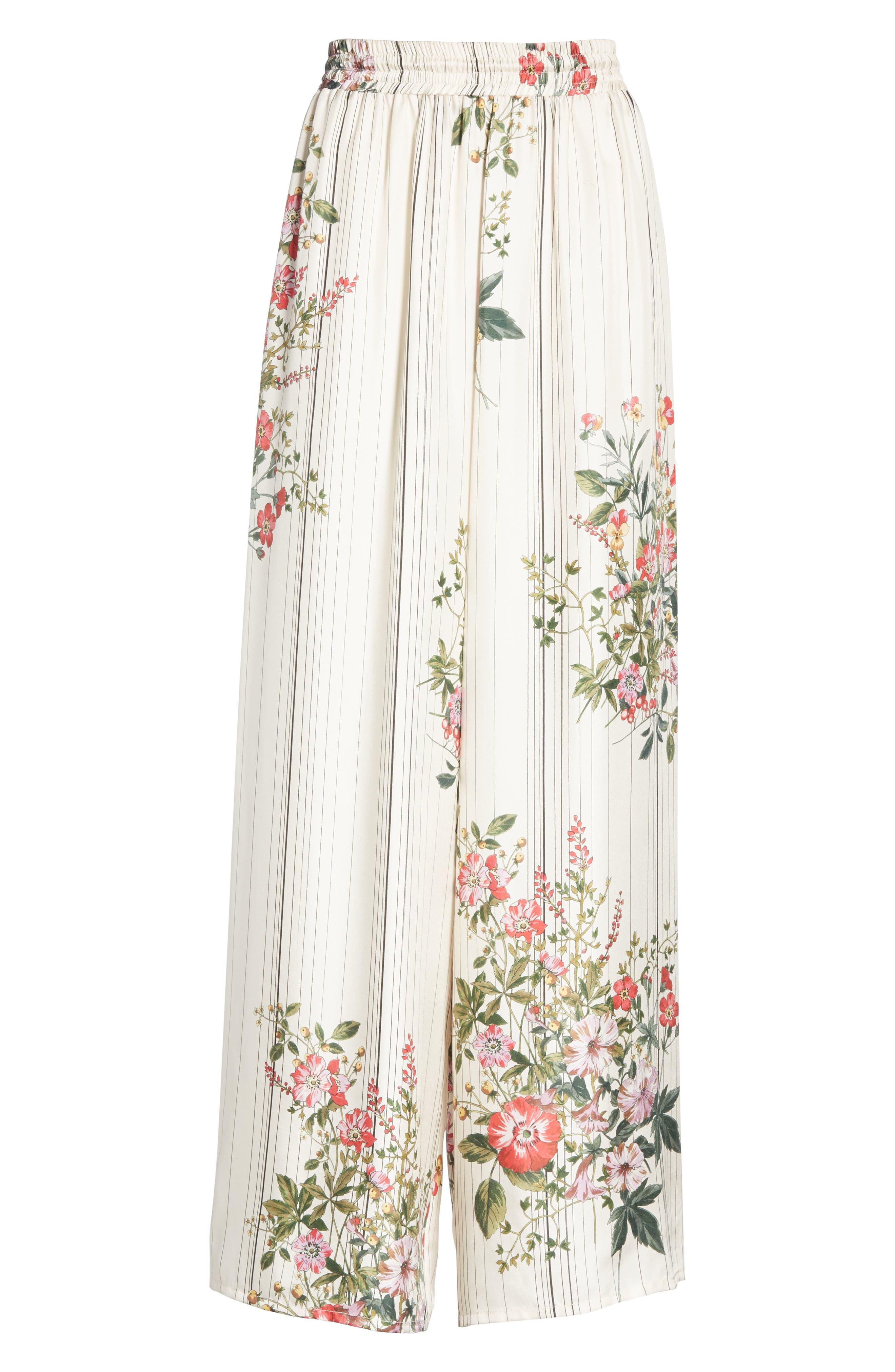 Conner Floral & Stripe Wide Leg Silk Pants,                             Alternate thumbnail 6, color,                             MULTI IVOIRE