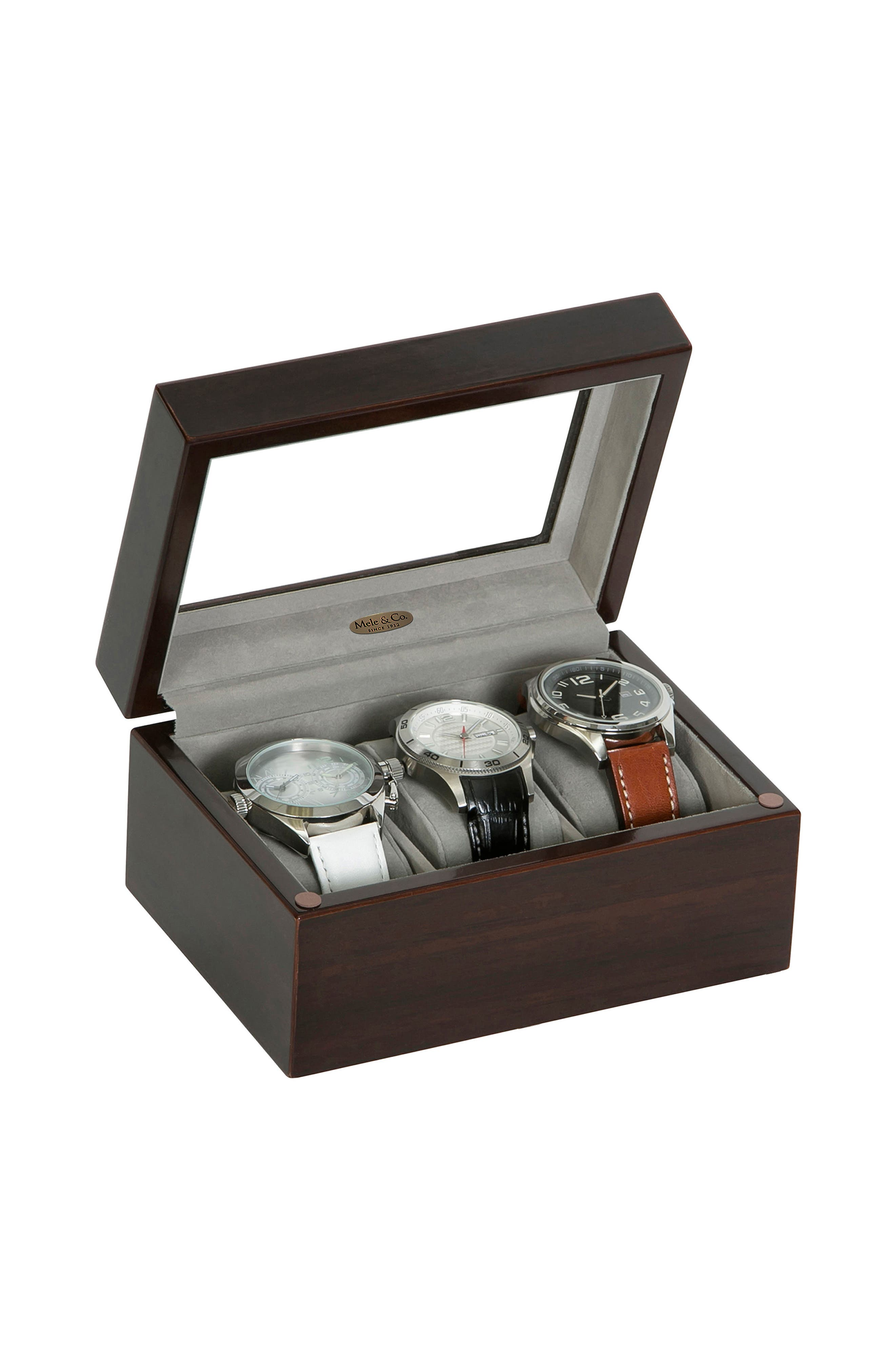 Granby Glass Top Watch Box,                             Alternate thumbnail 3, color,                             BROWN