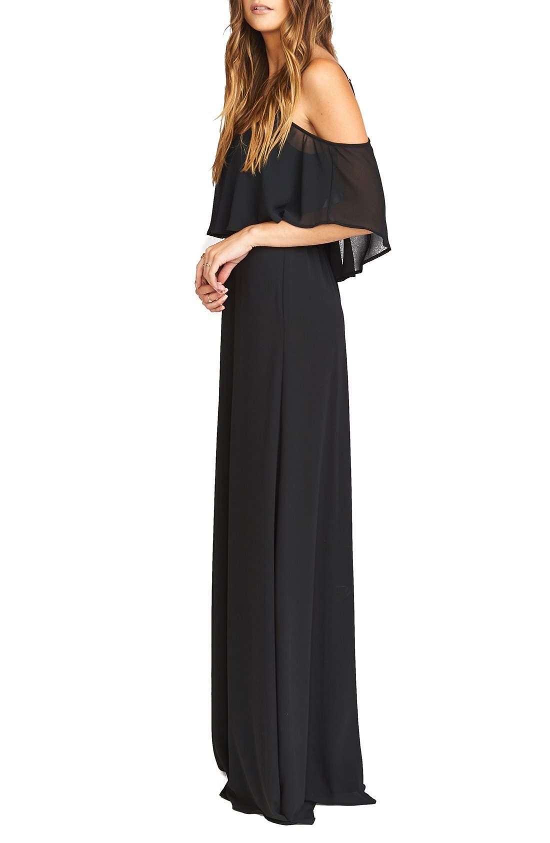 Caitlin Cold Shoulder Chiffon Gown,                             Alternate thumbnail 42, color,