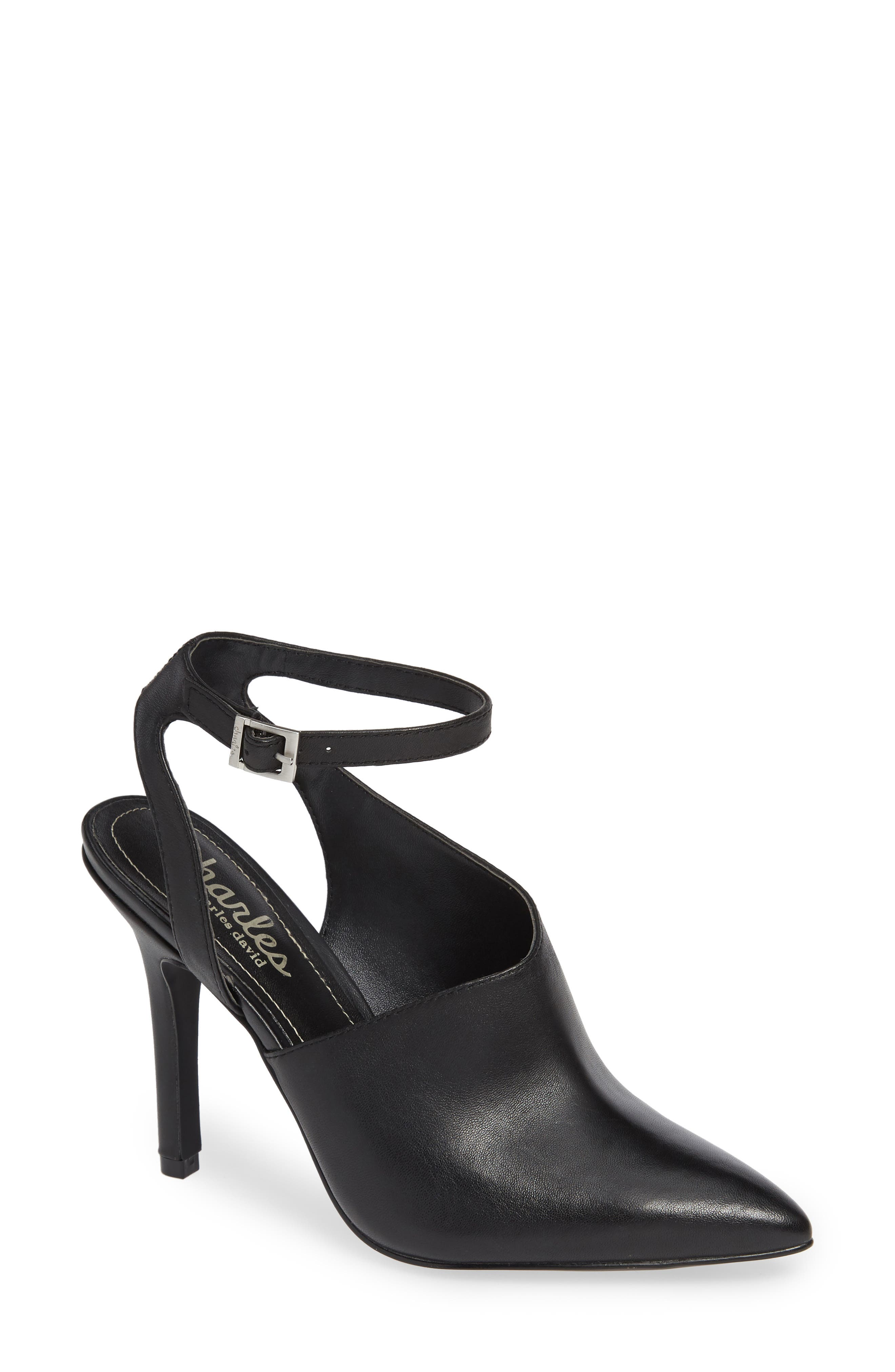 CHARLES BY CHARLES DAVID Mieko Ankle-Wrap Leather Pumps in Black