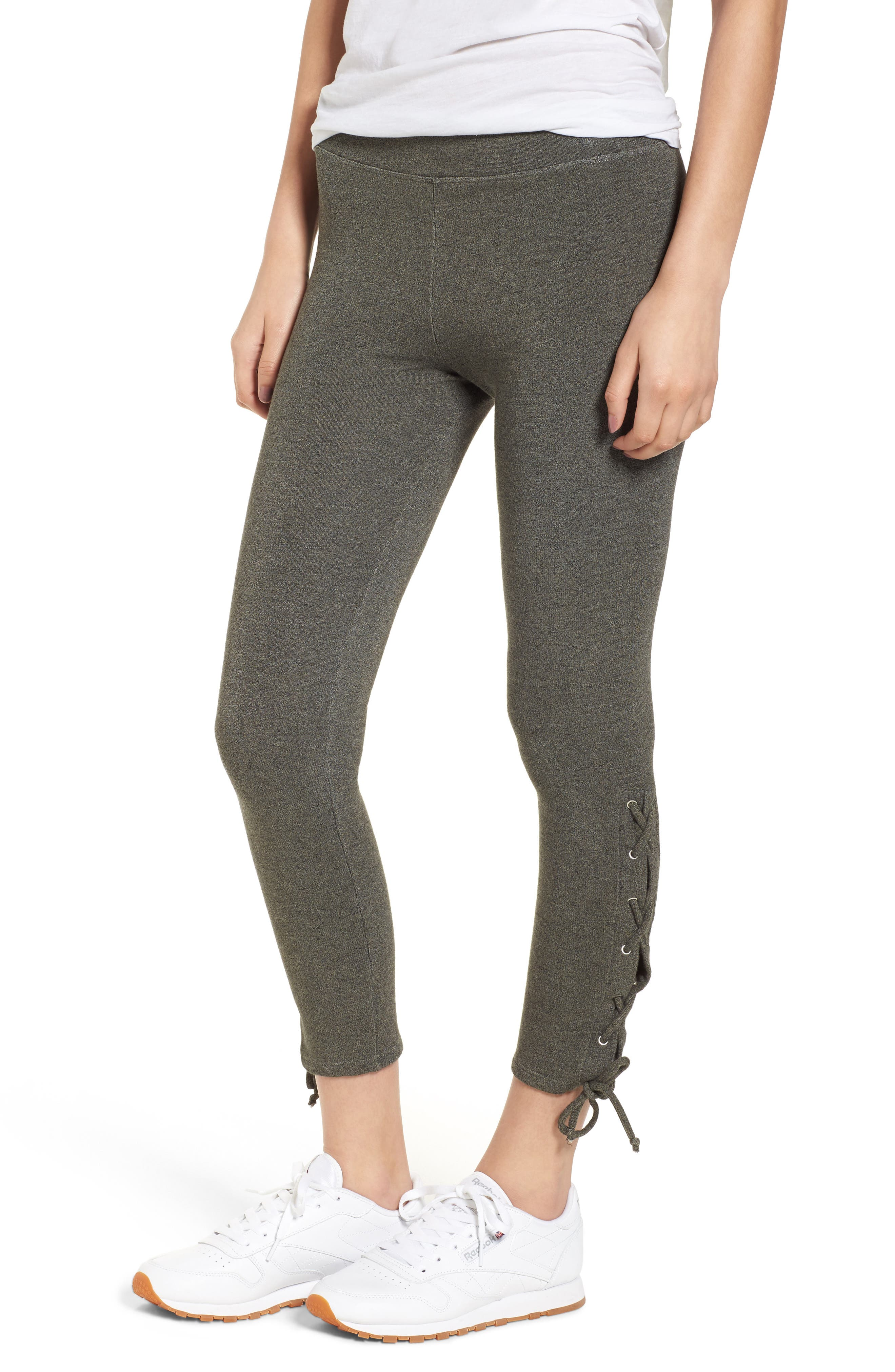 SUNDRY Lace-Up Ankle Leggings, Main, color, 309