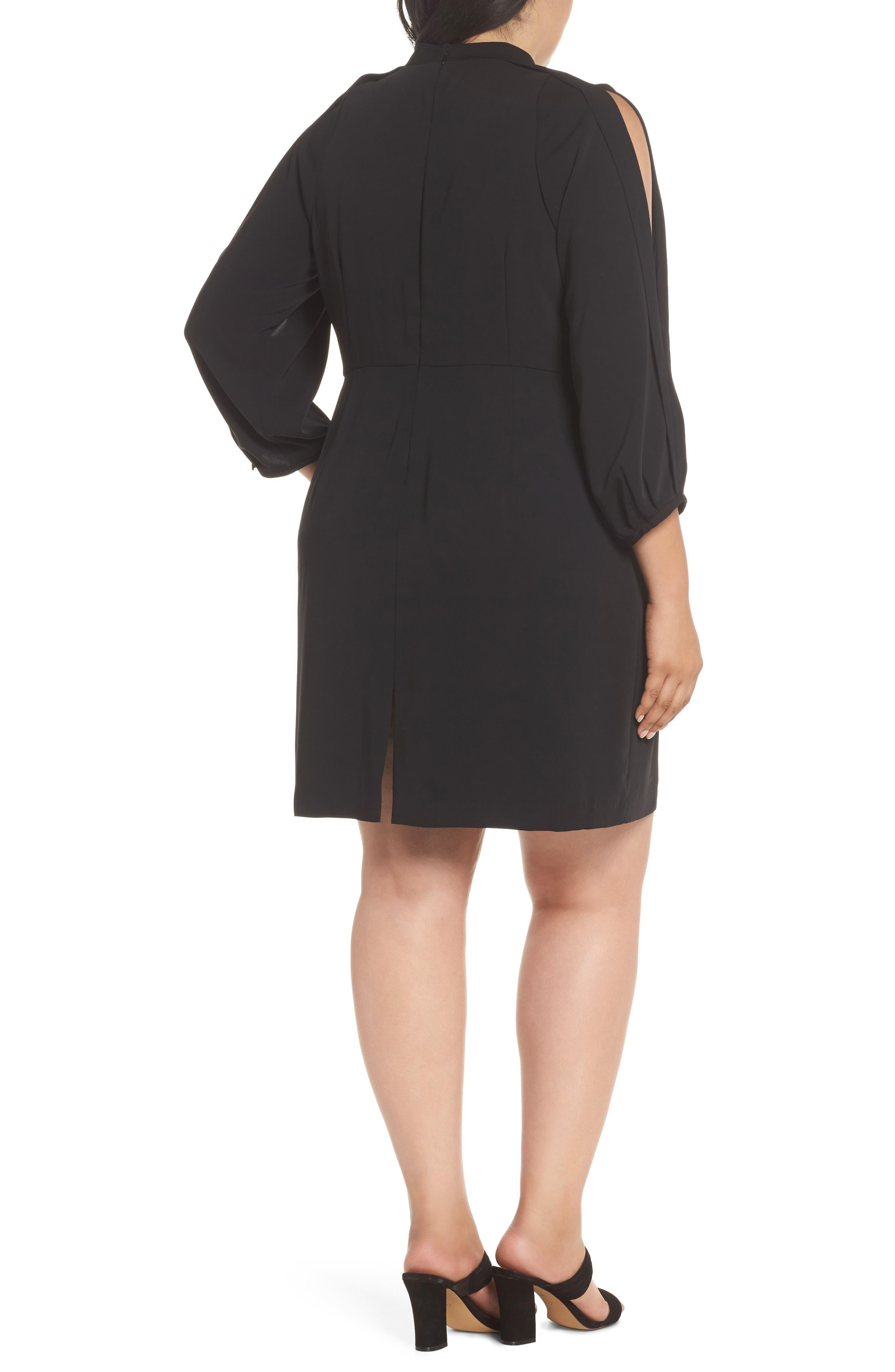 Mock Neck Split Sleeve Dress,                             Alternate thumbnail 2, color,                             001