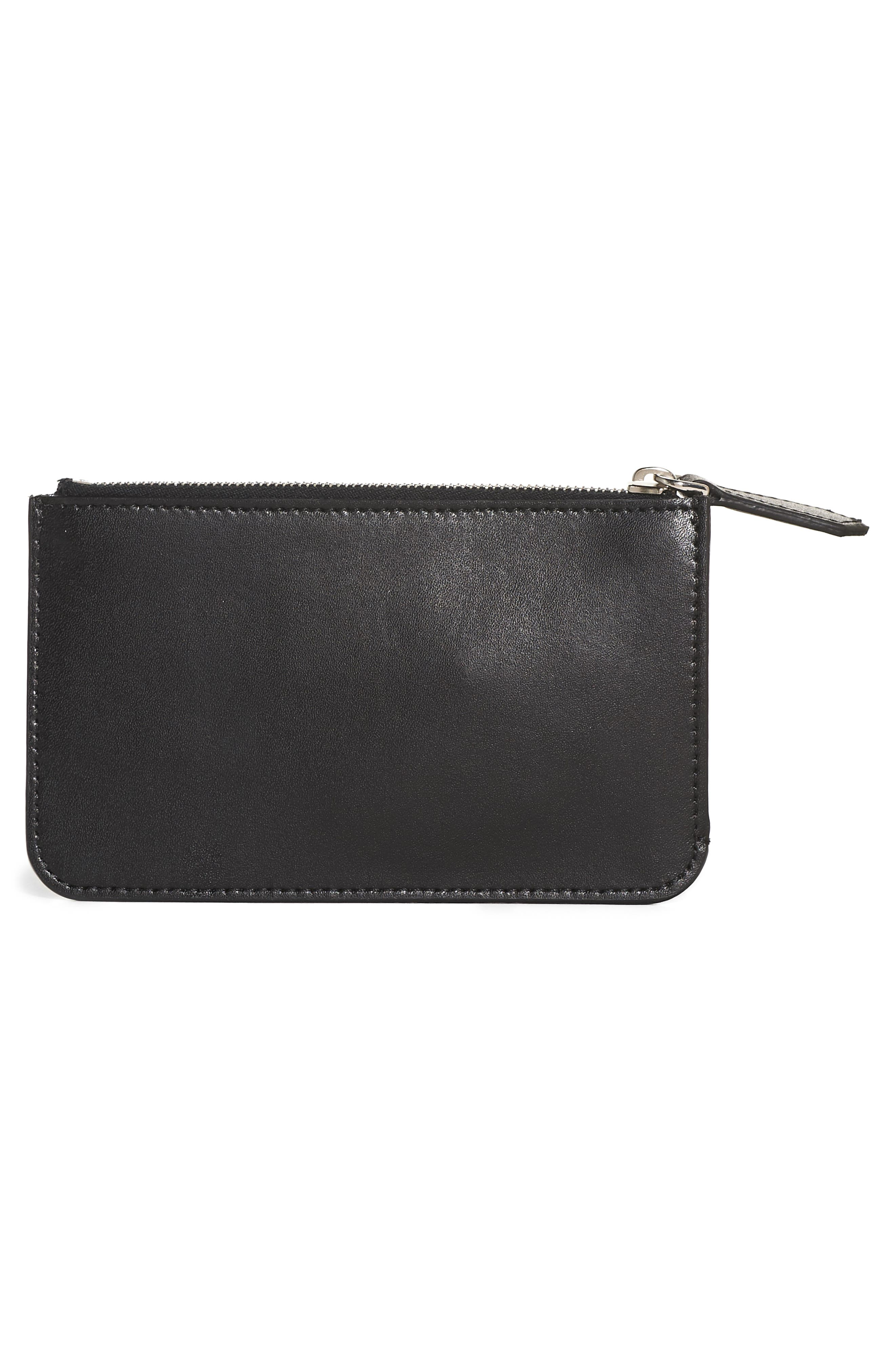 Large Studded Leather Key Pouch,                             Alternate thumbnail 3, color,                             BLACK MULTI