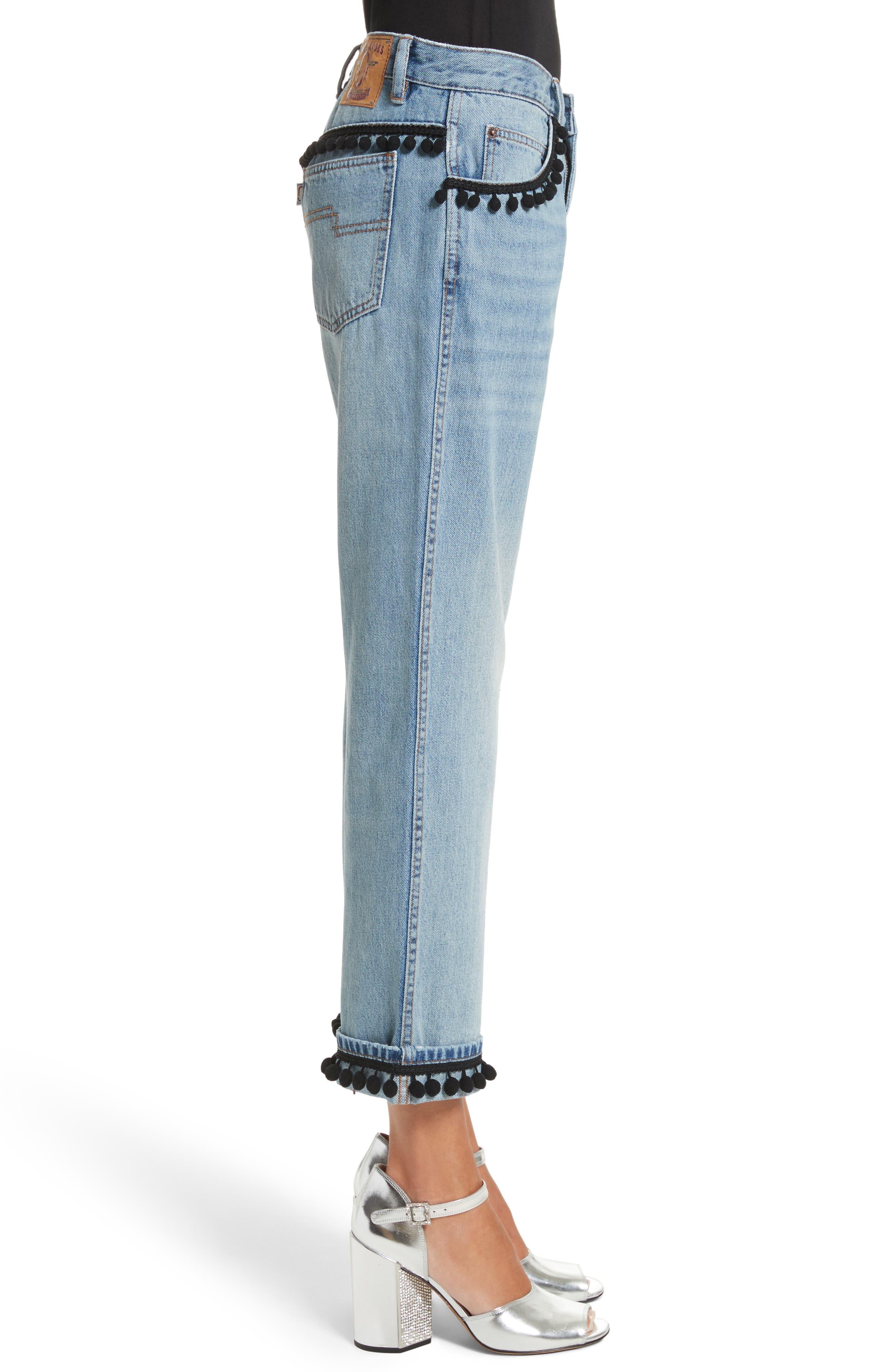 Pom Trim Crop Jeans,                             Alternate thumbnail 3, color,                             489