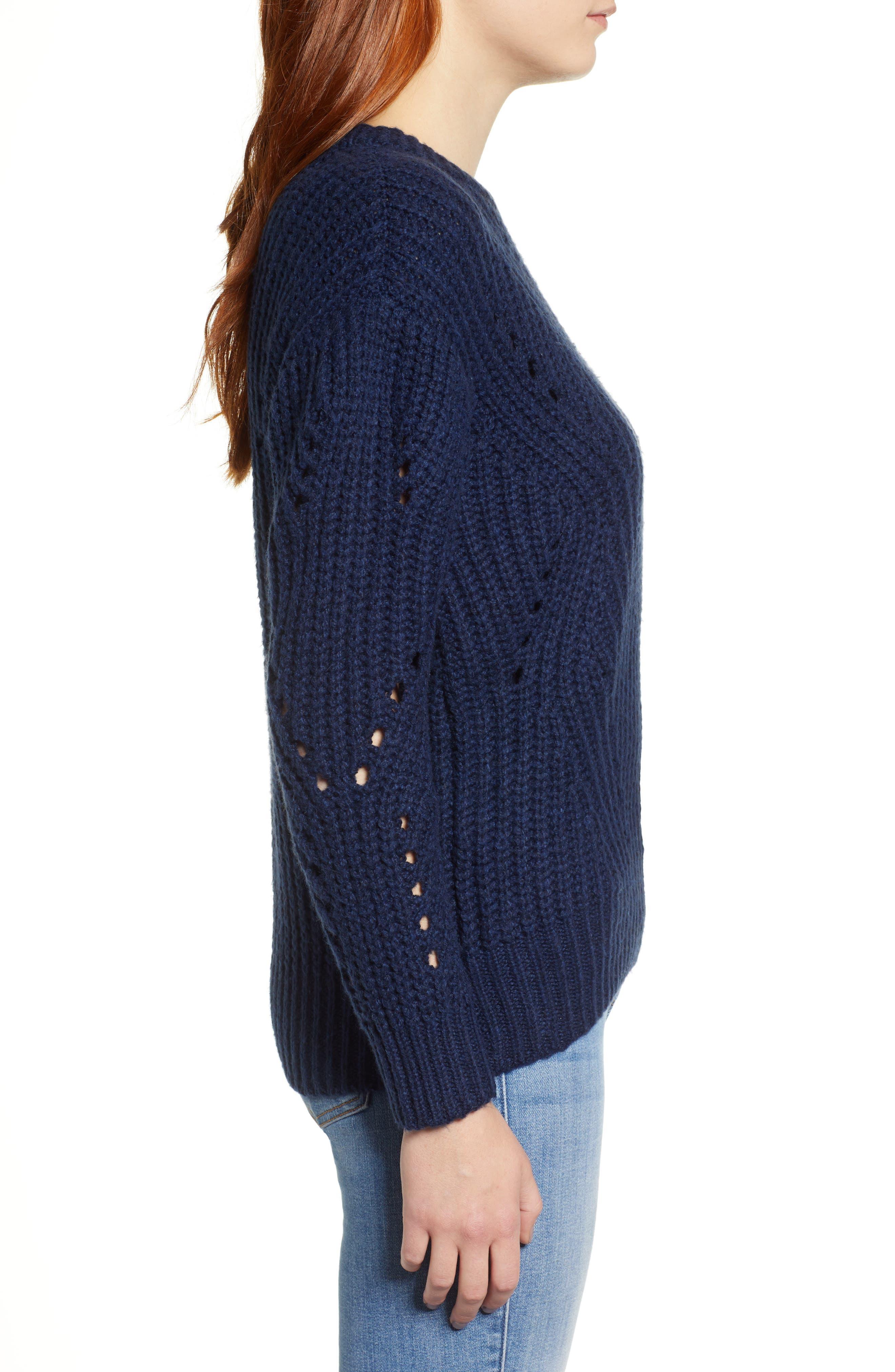 Rib Pointelle Detail Cotton Blend Sweater,                             Alternate thumbnail 3, color,                             CLASSIC NAVY
