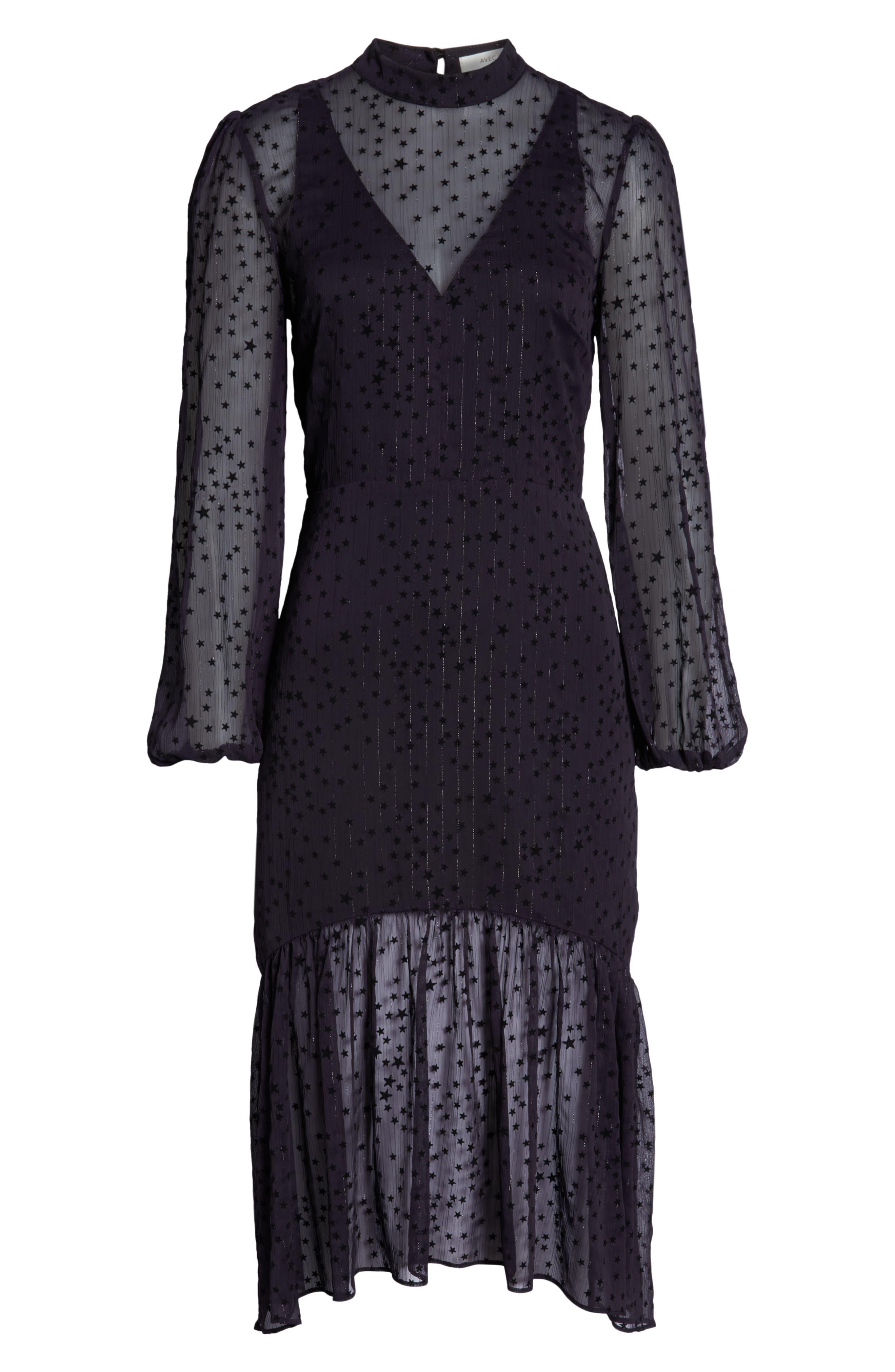 AVEC LES FILLES,                             Flocked Star Ruffle Dress,                             Alternate thumbnail 7, color,                             NAVY/ BLACK