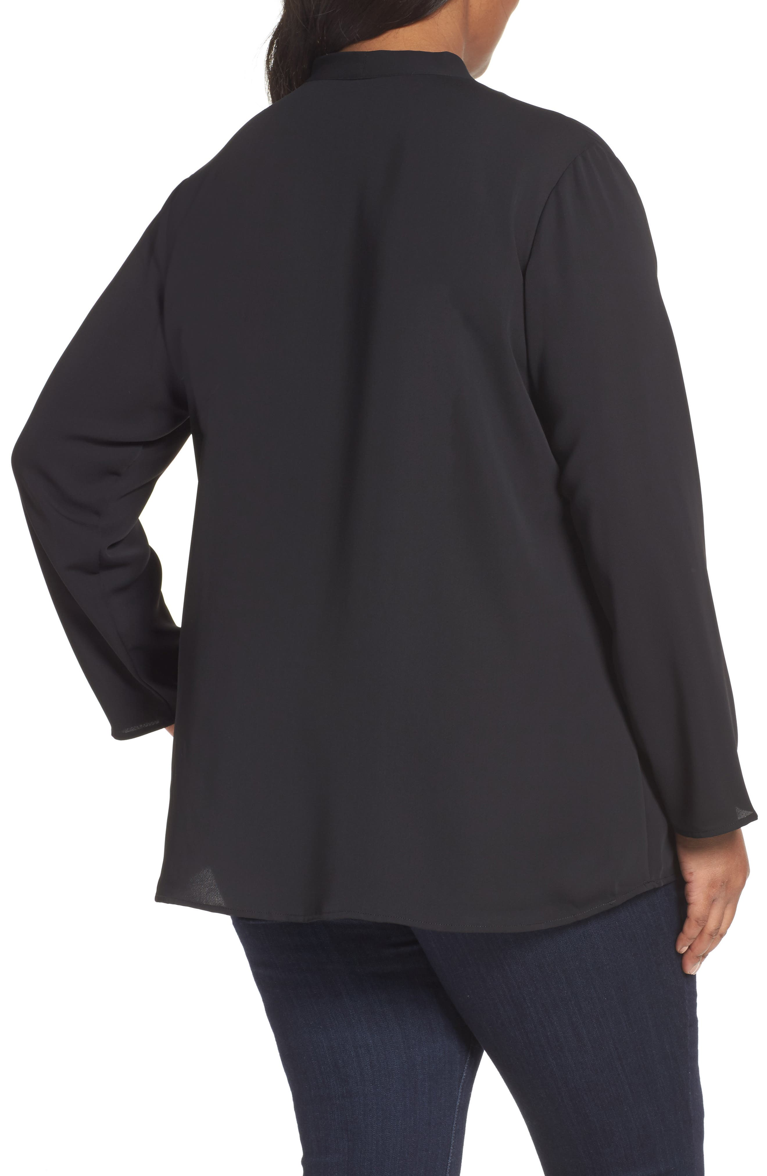 Majestic Matte Satin Blouse,                             Alternate thumbnail 2, color,                             004