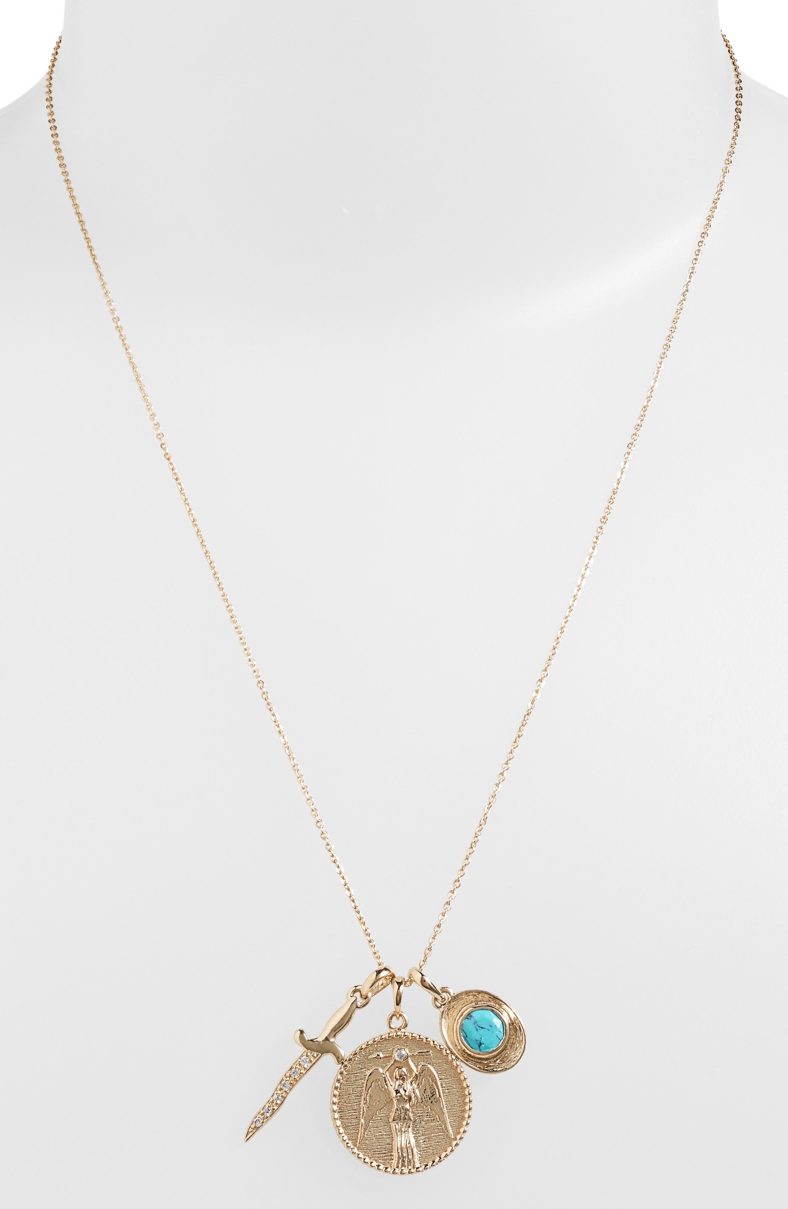 Goddess of Strength Cluster Pendant Necklace,                             Alternate thumbnail 6, color,