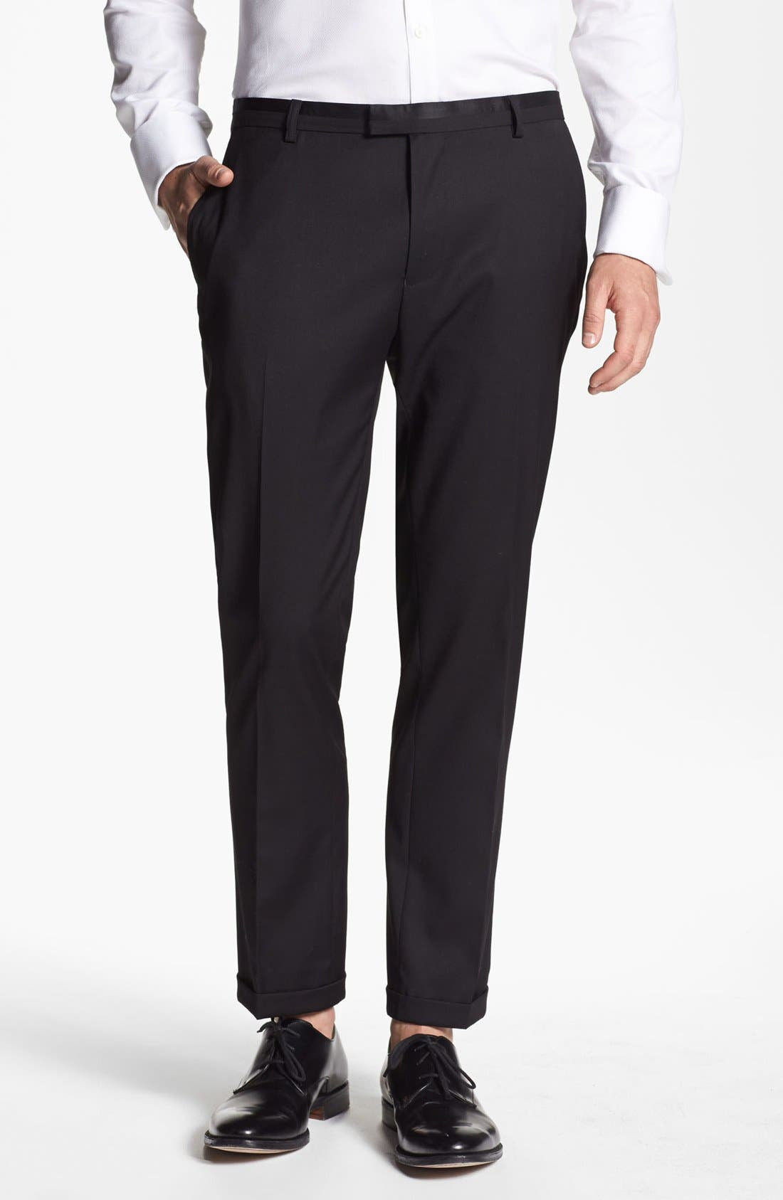 TOPMAN Skinny Fit Tuxedo Trousers, Main, color, 001
