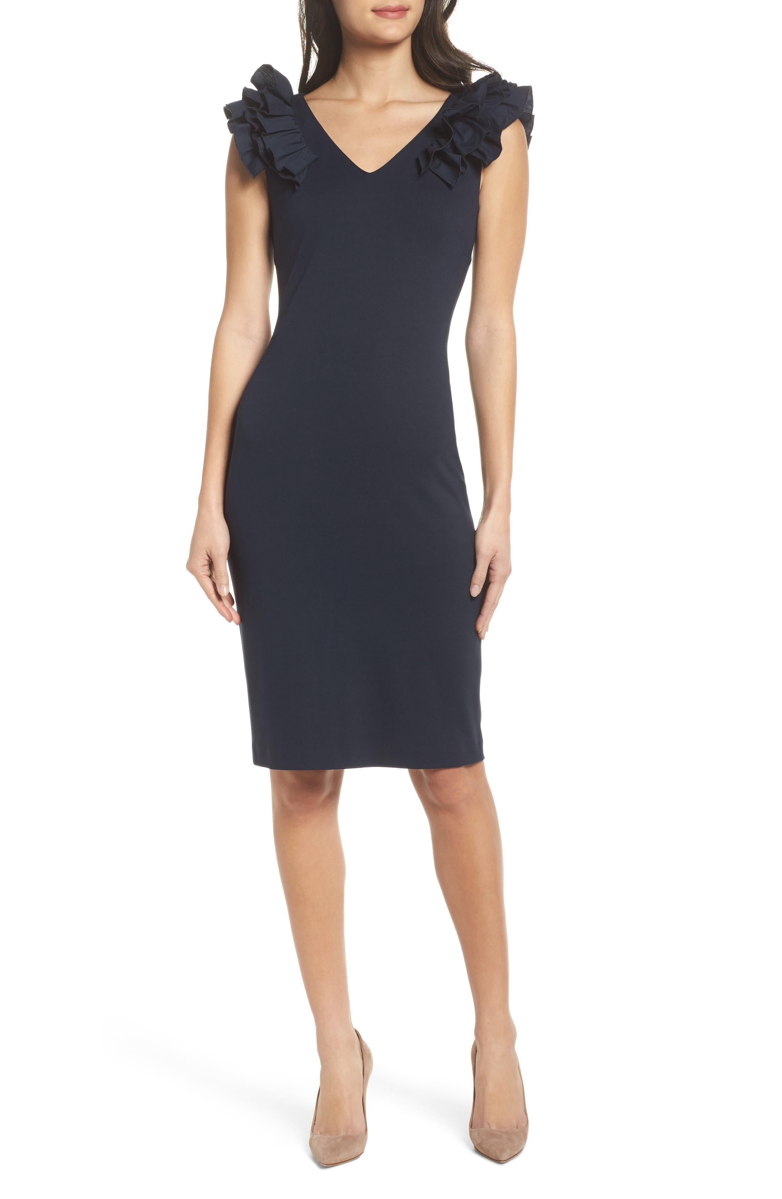 Ruffle Sheath Dress,                         Main,                         color, 410