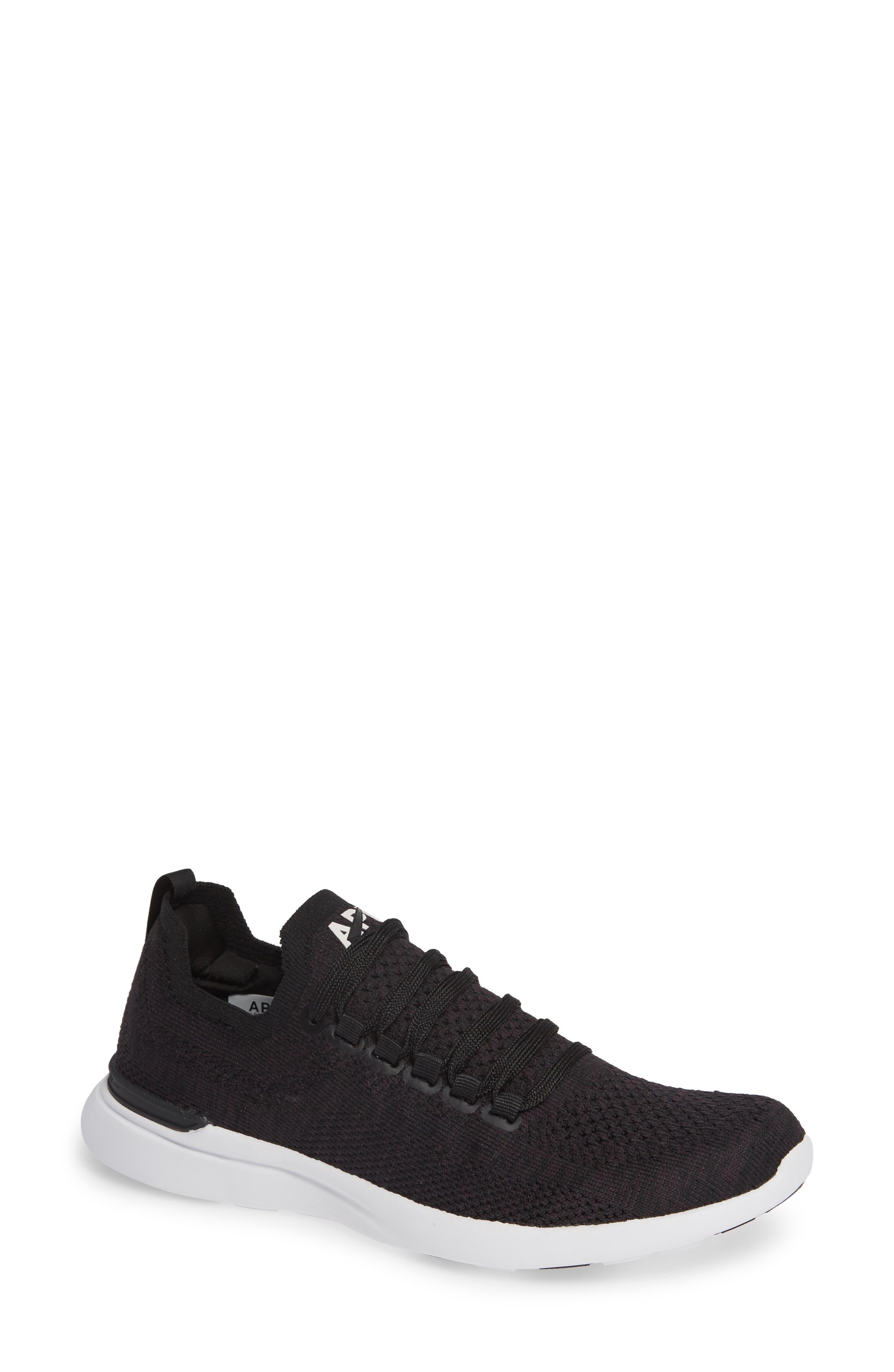 Techloom Breeze Knit Running Shoe,                             Main thumbnail 1, color,                             BLACK/ BLACK/ WHITE