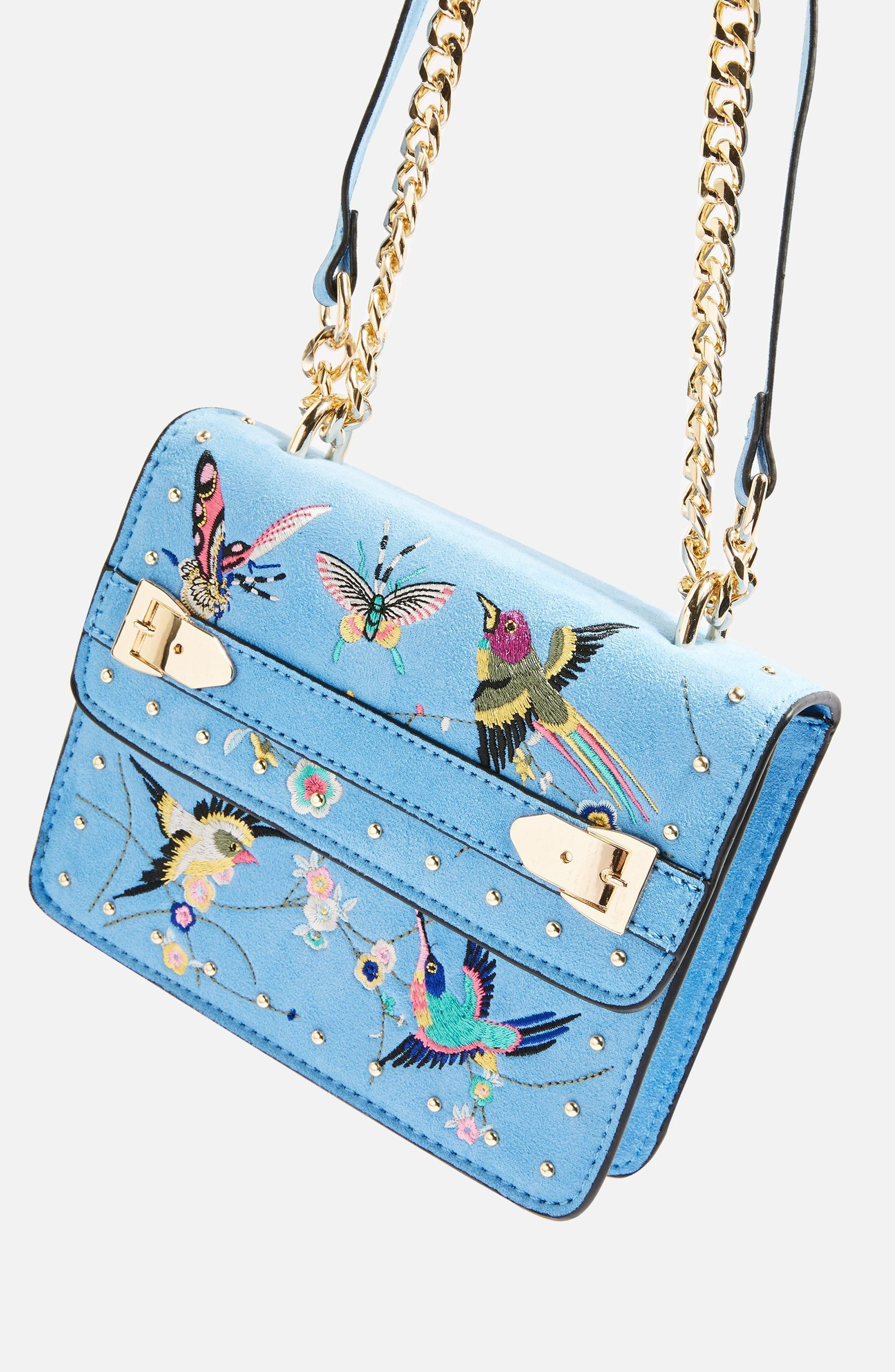 Polly Bird Embroidered Crossbody Bag,                             Alternate thumbnail 3, color,                             BLUE MULTI