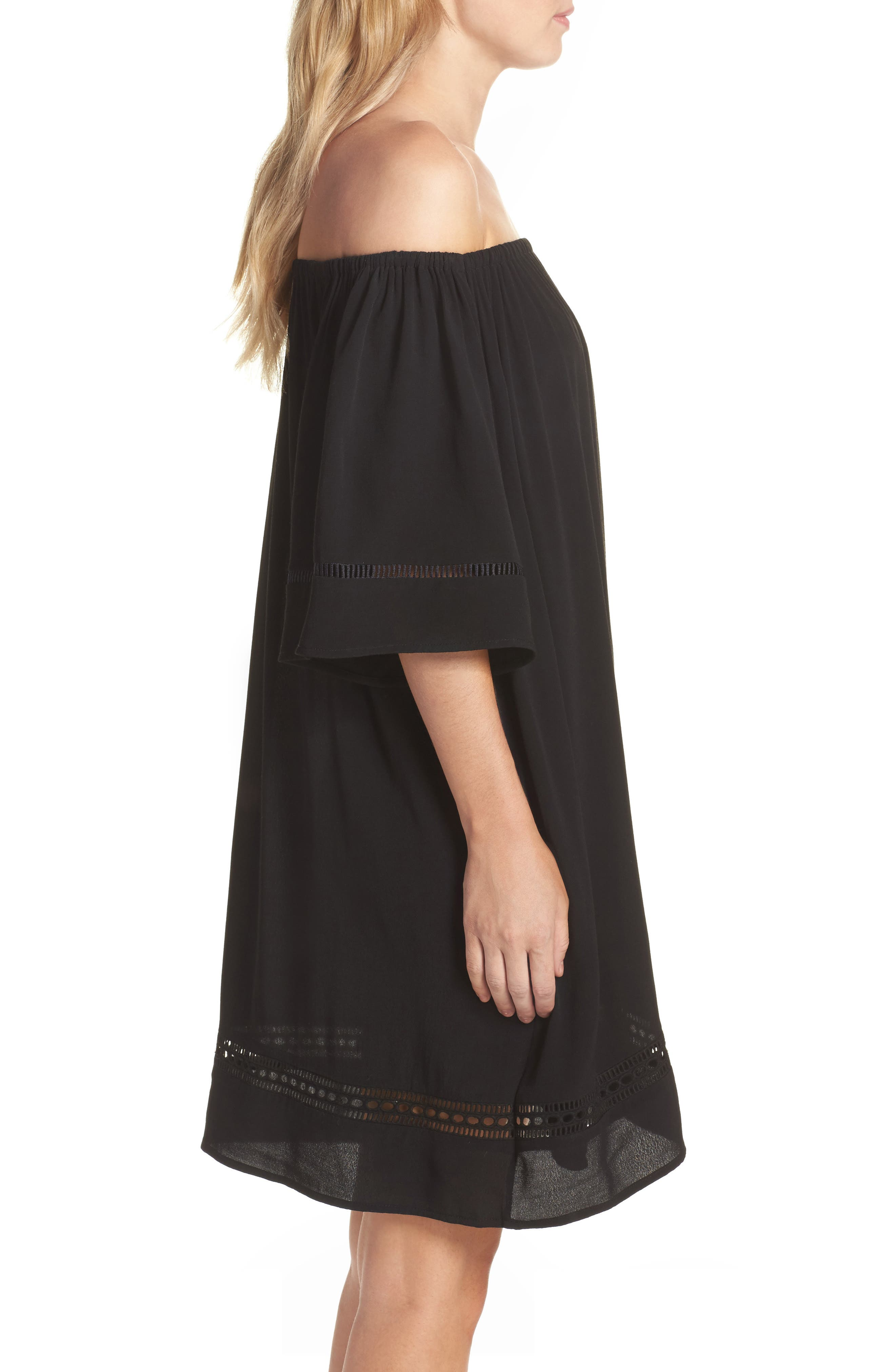 City Wide Off the Shoulder Cover-Up Dress,                             Alternate thumbnail 3, color,                             001