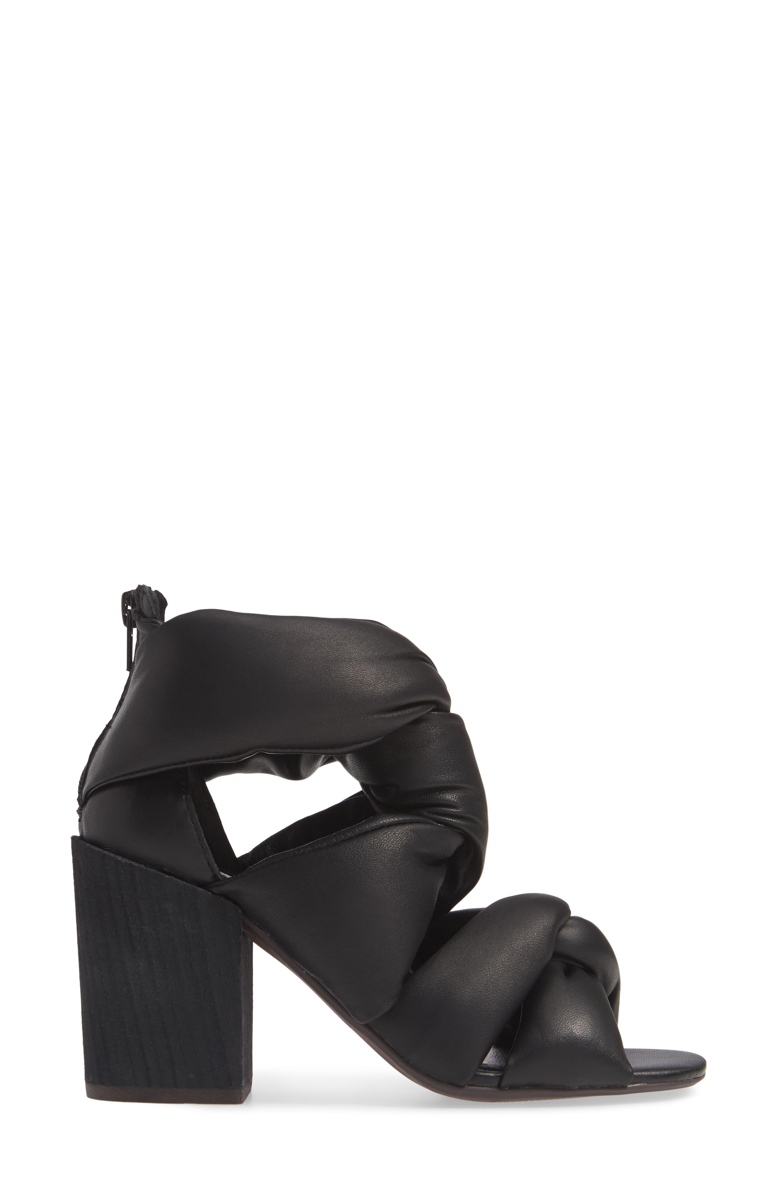 KELSI DAGGER BROOKLYN,                             Maddox Knotted Strap Sandal,                             Alternate thumbnail 3, color,                             BLACK
