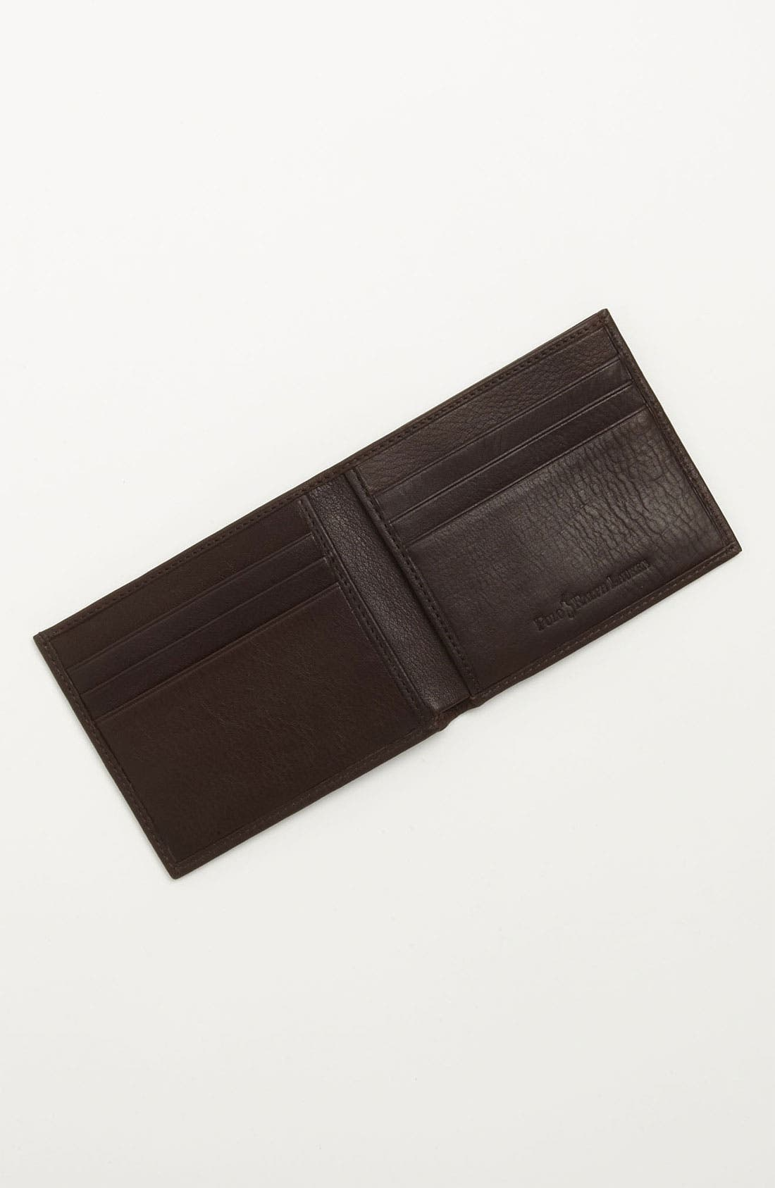 Bifold Leather Wallet,                             Alternate thumbnail 5, color,                             BROWN