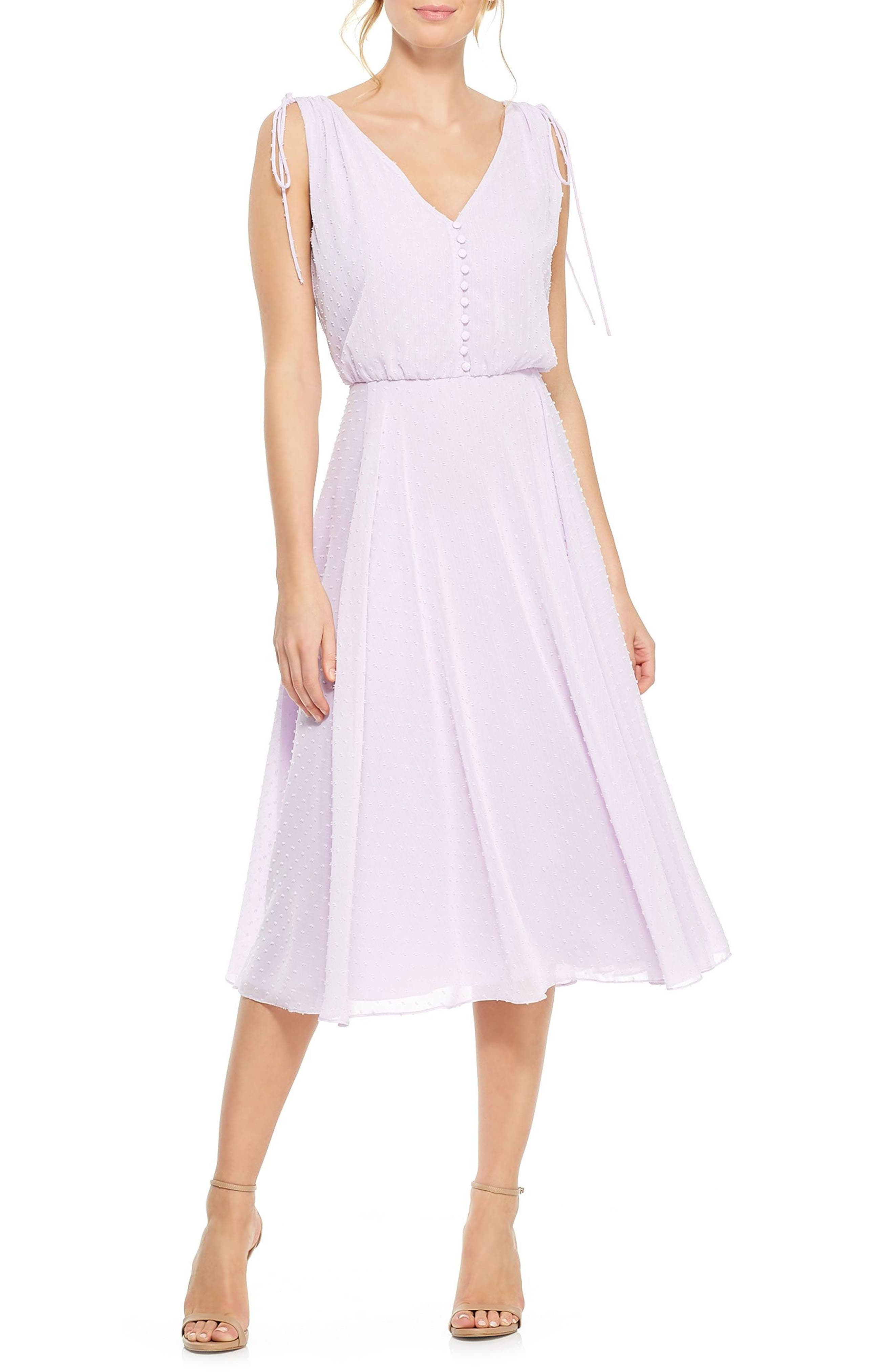 Gal Meets Glam Collection Hillary Clip Dot Chiffon Midi Dress, 0 (similar to 16W-18W) - Purple