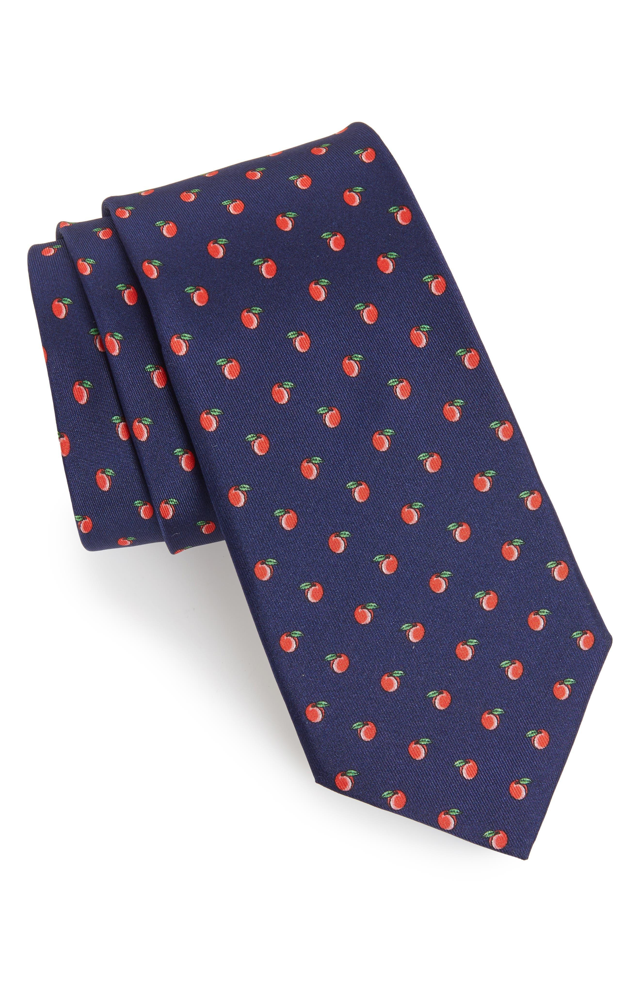Peach Toss Print Silk Tie,                             Main thumbnail 1, color,                             800