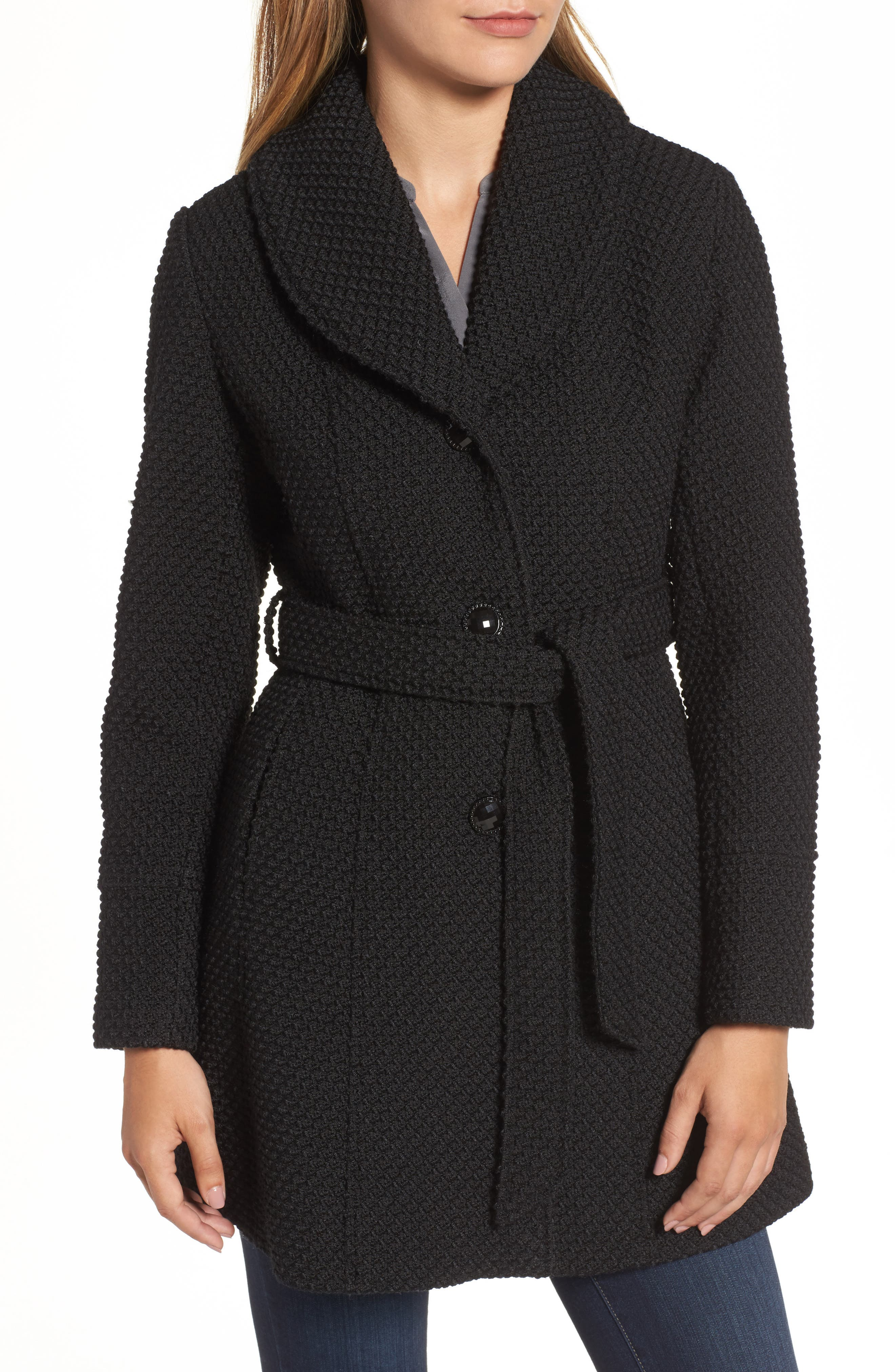 Belted Coat with Faux Fur Collar,                             Alternate thumbnail 4, color,                             001