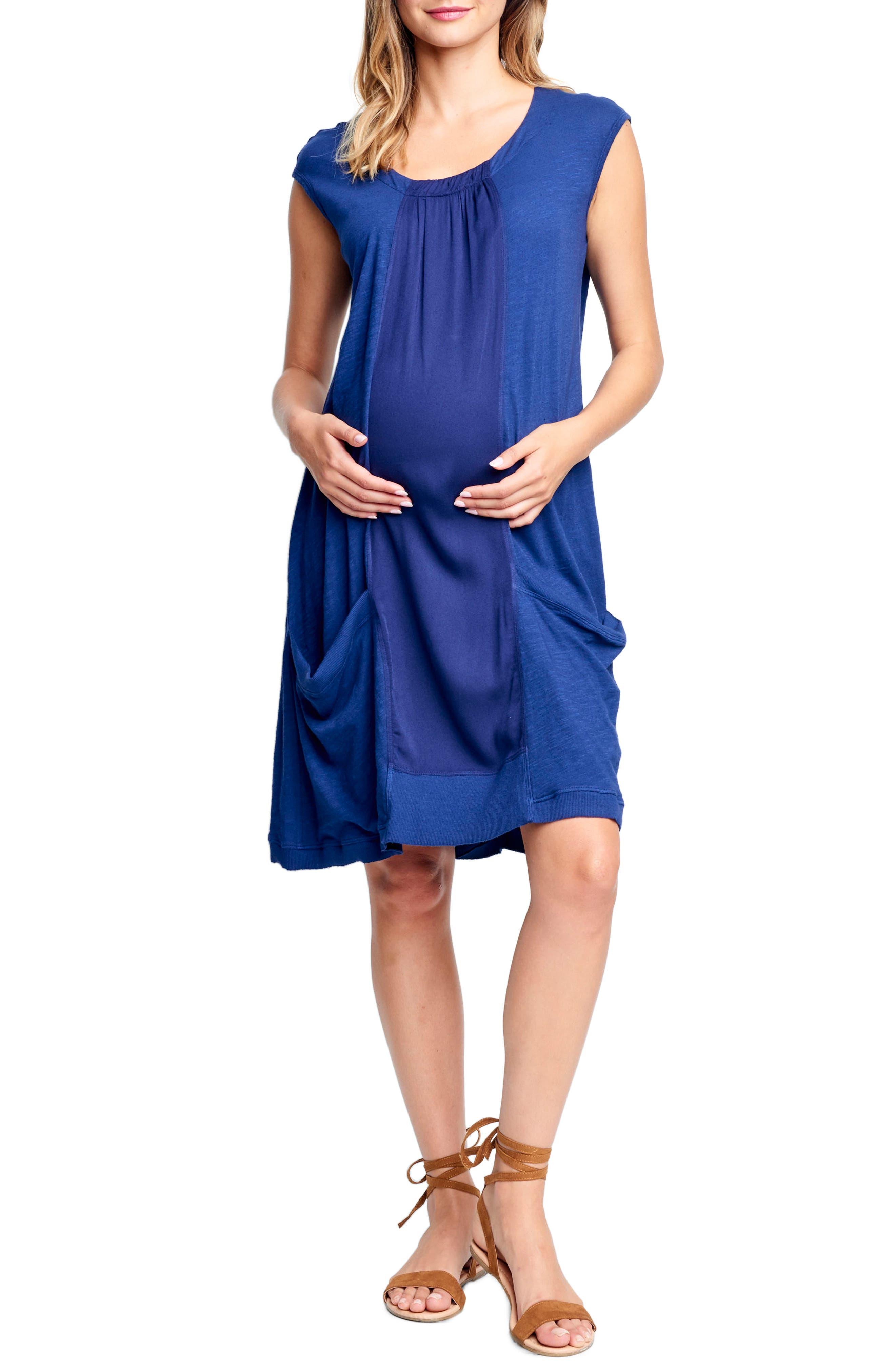 Maternal America Tie Back Maternity Shift Dress, Blue