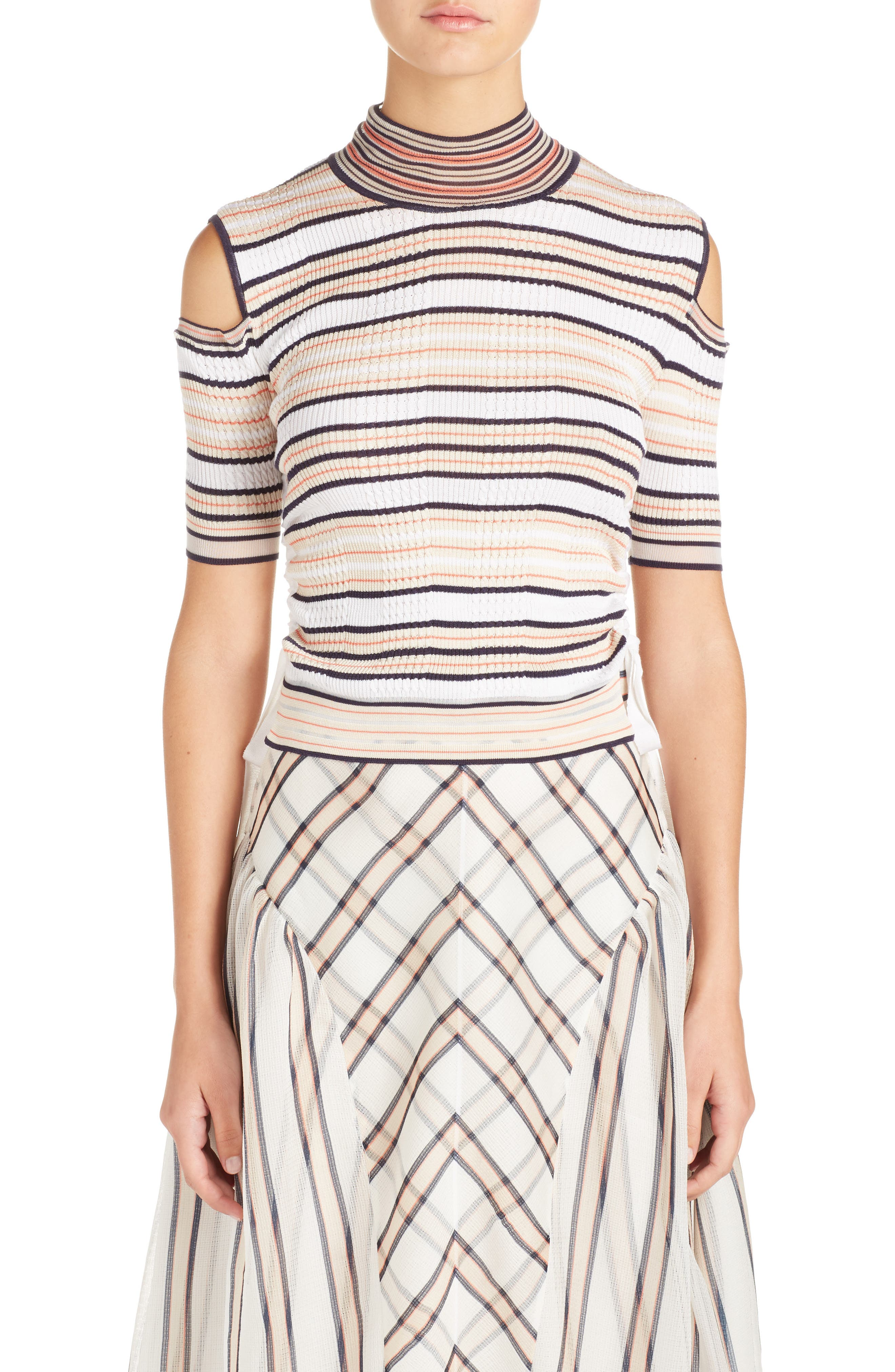 Cold Shoulder Stripe Silk Blend Sweater,                             Main thumbnail 1, color,                             148