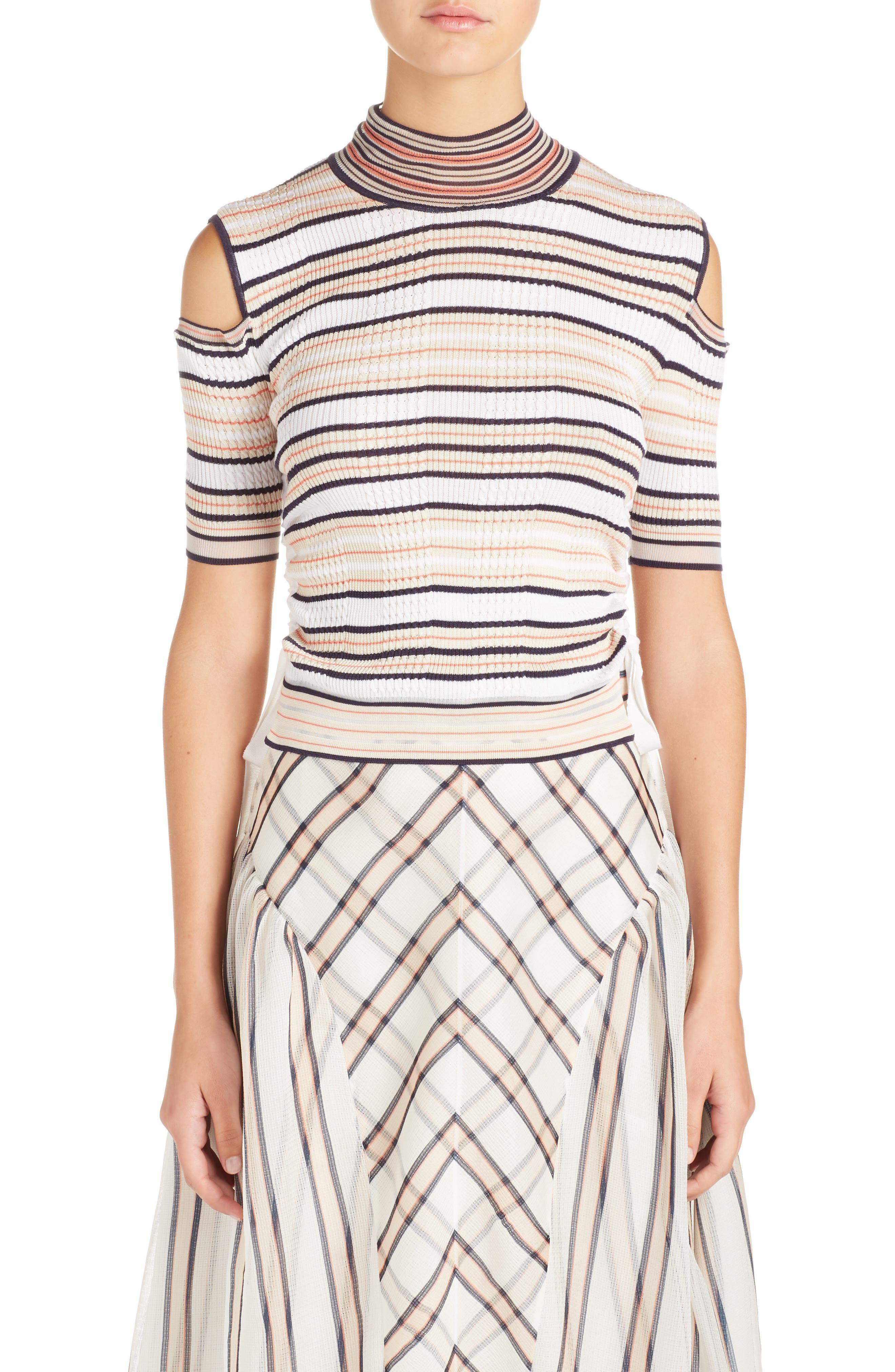 Cold Shoulder Stripe Silk Blend Sweater,                         Main,                         color, 148
