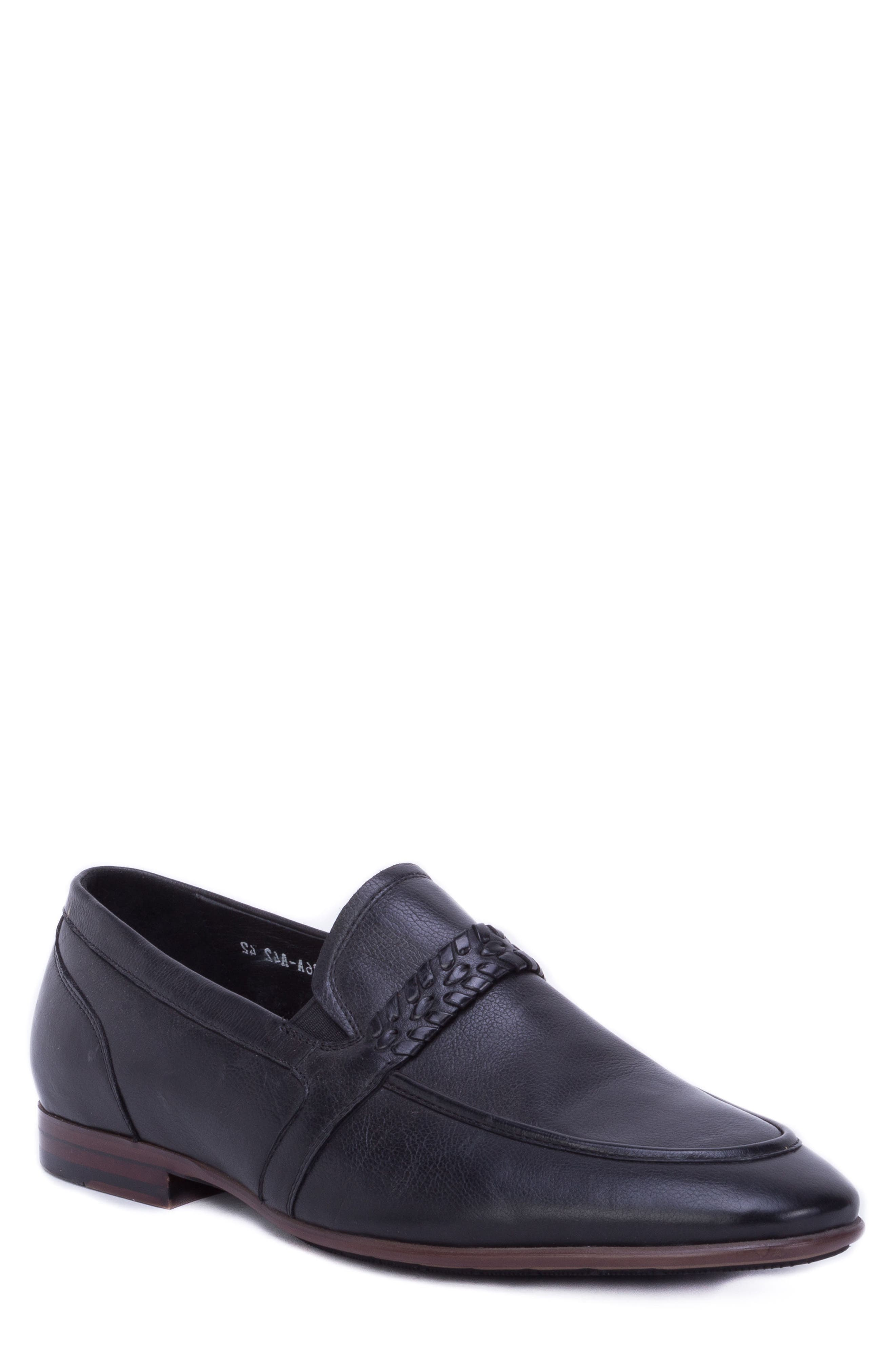 Robinson Whipstitch Apron Toe Loafer,                             Main thumbnail 1, color,                             BLACK LEATHER