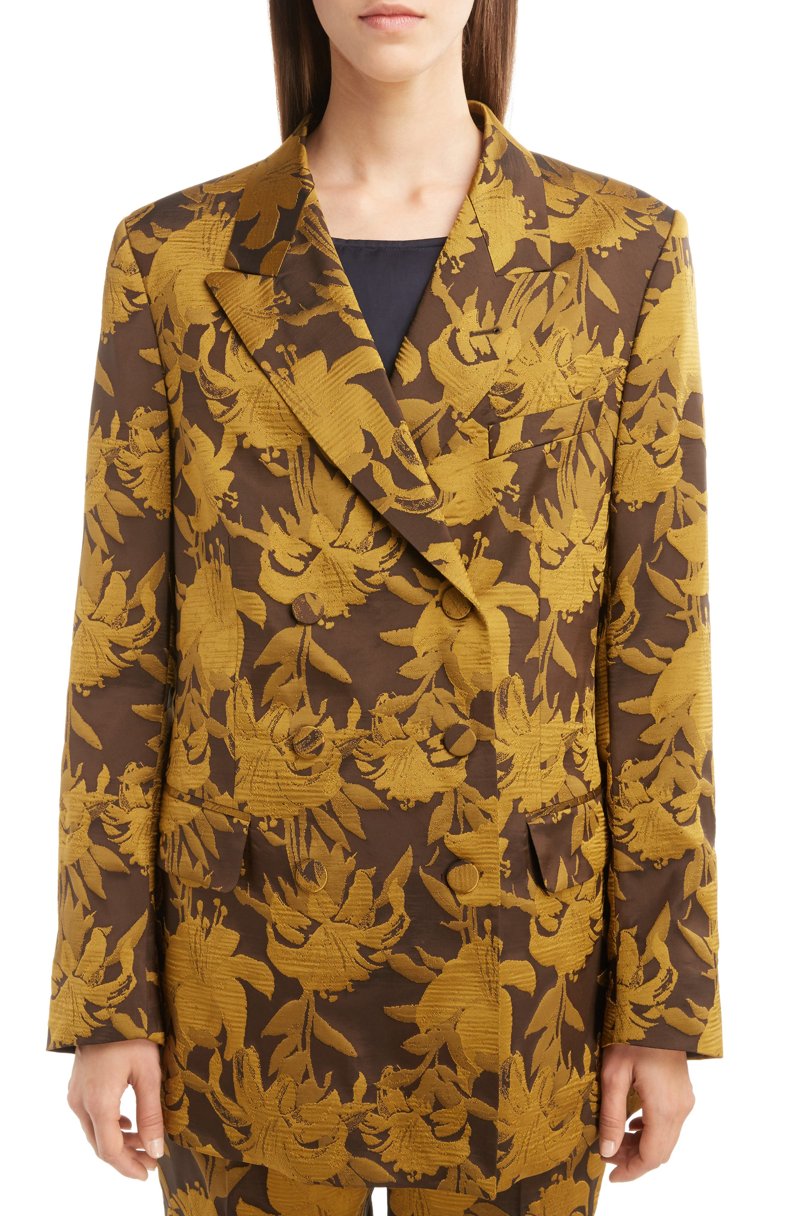 Damask Double Breasted Jacket,                             Alternate thumbnail 4, color,                             700