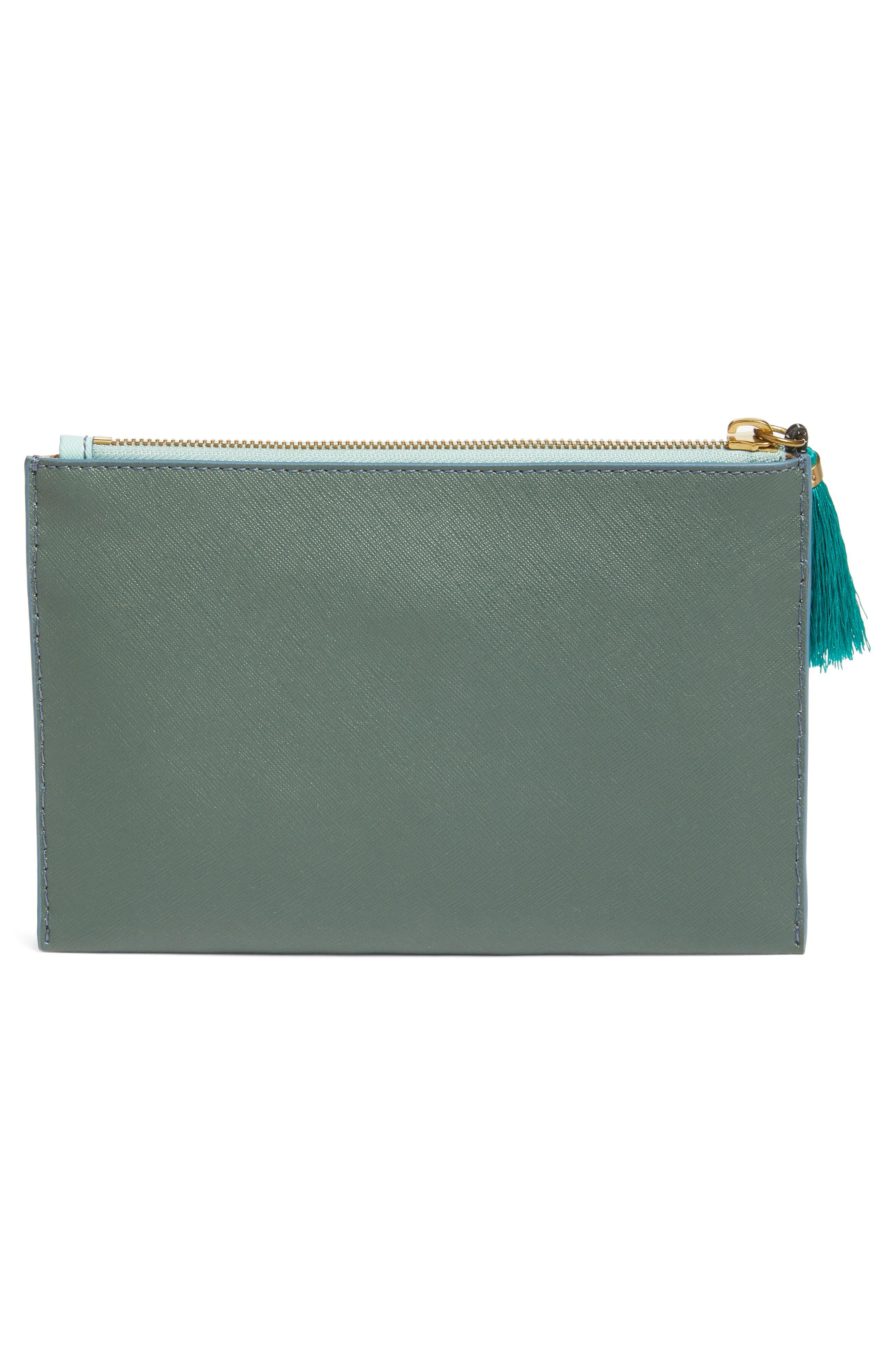 Medium Color Block Leather Pouch,                             Alternate thumbnail 3, color,                             401