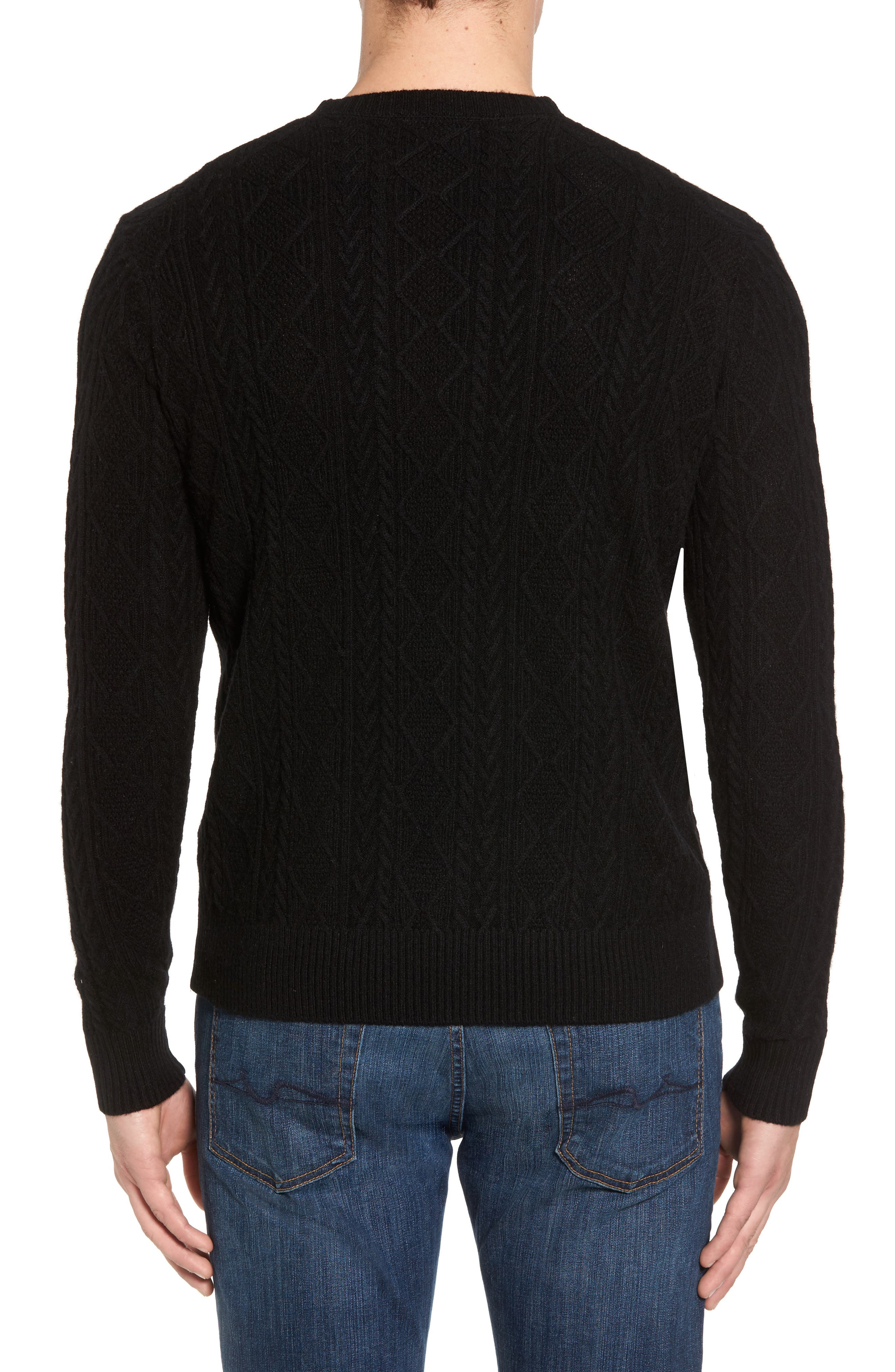 Crown Wool Blend Fisherman Sweater,                             Alternate thumbnail 2, color,                             001