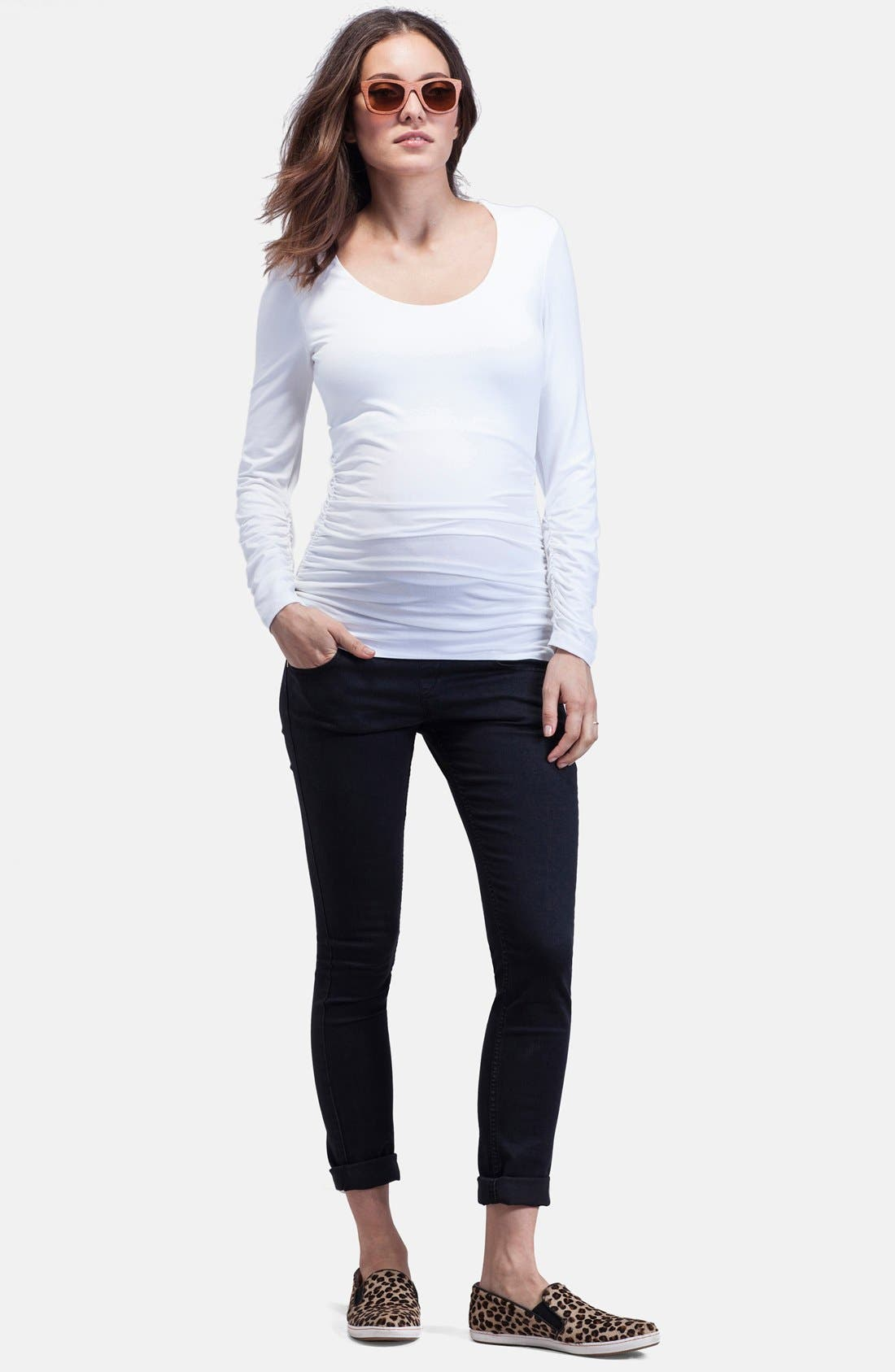 'The Scoop' Maternity Top,                             Alternate thumbnail 3, color,                             PURE WHITE