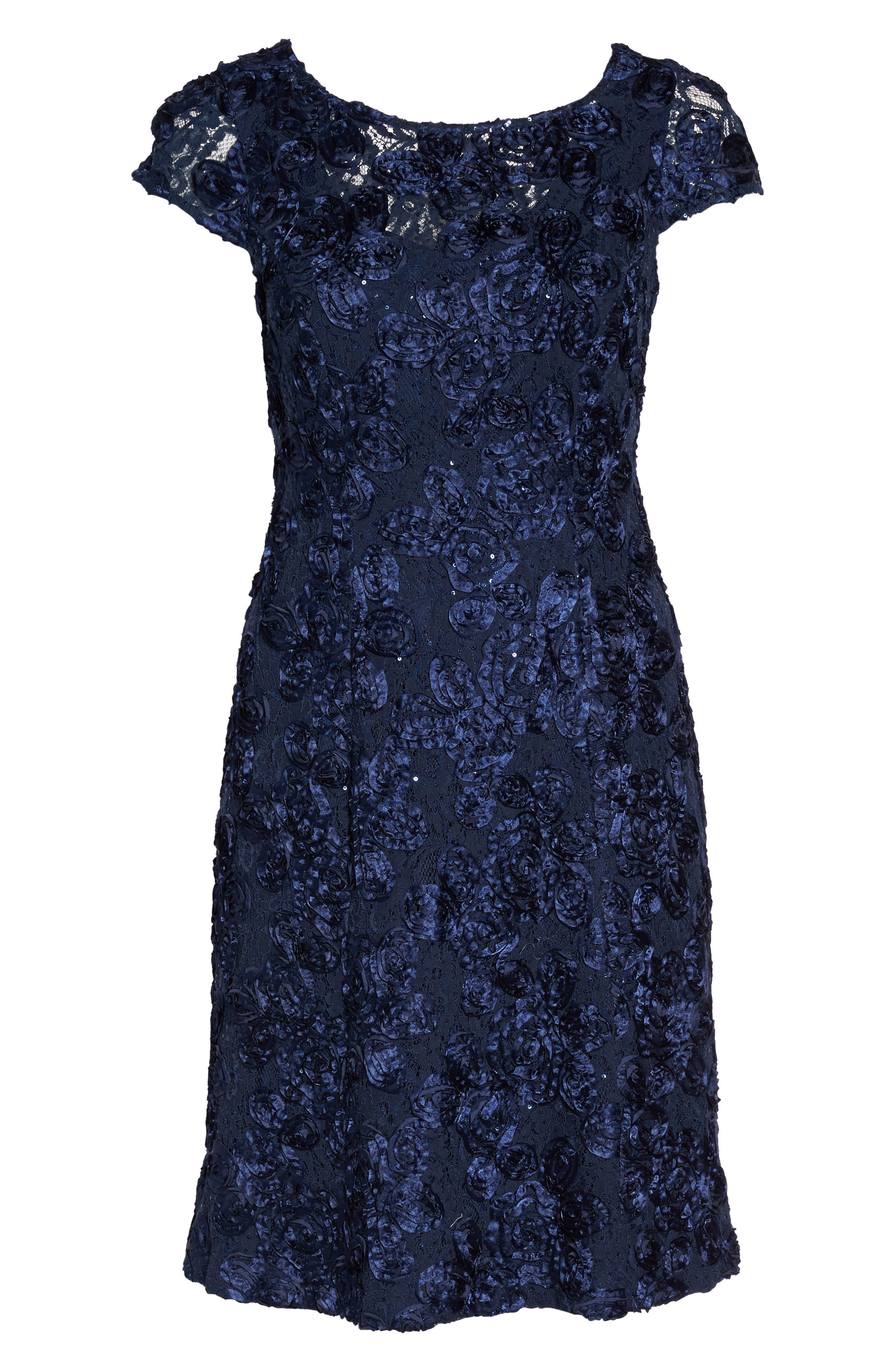 Rosette Fit & Flare Dress,                             Alternate thumbnail 6, color,                             410