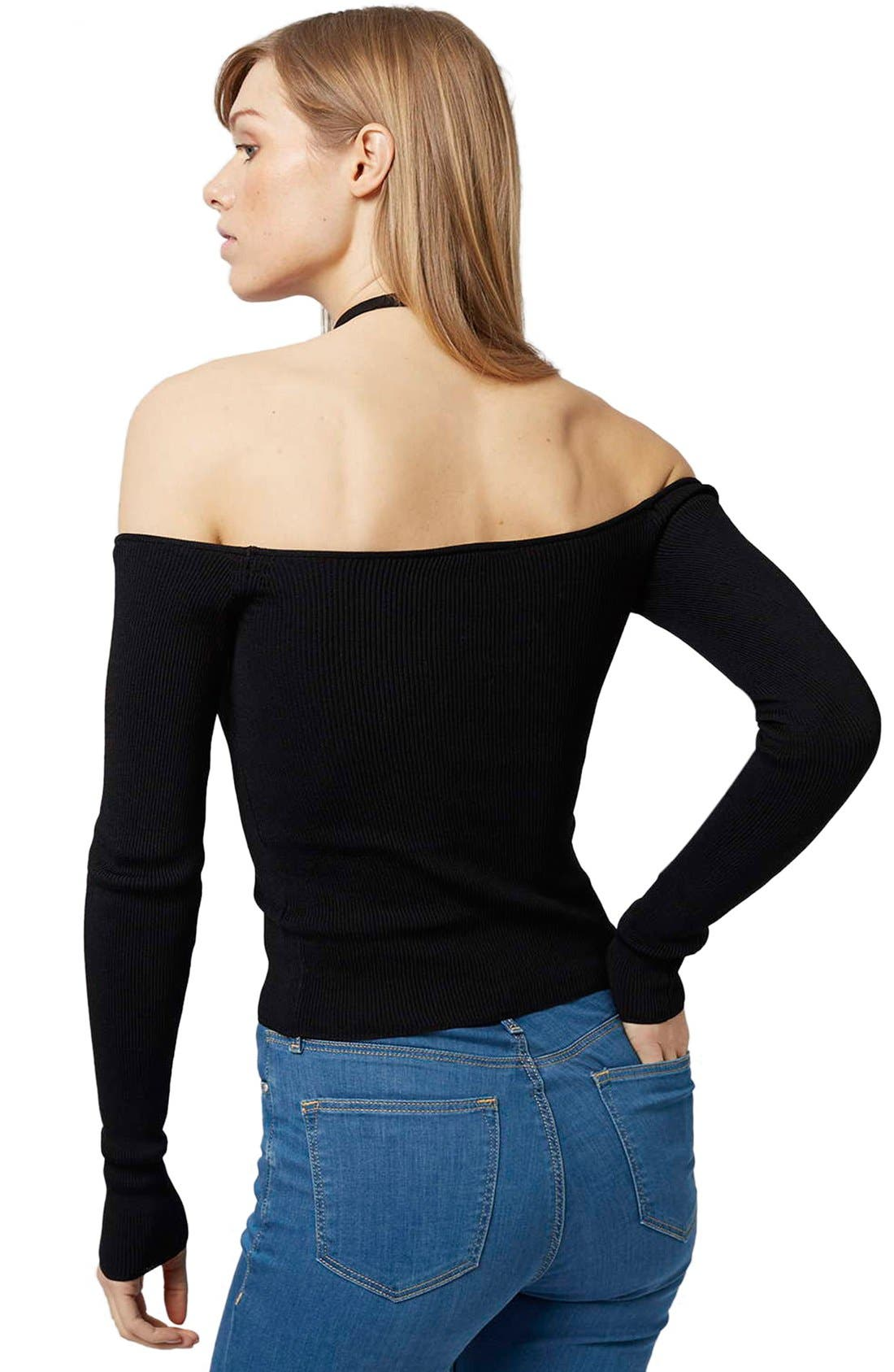 TOPSHOP,                             Off the Shoulder Top,                             Alternate thumbnail 3, color,                             001