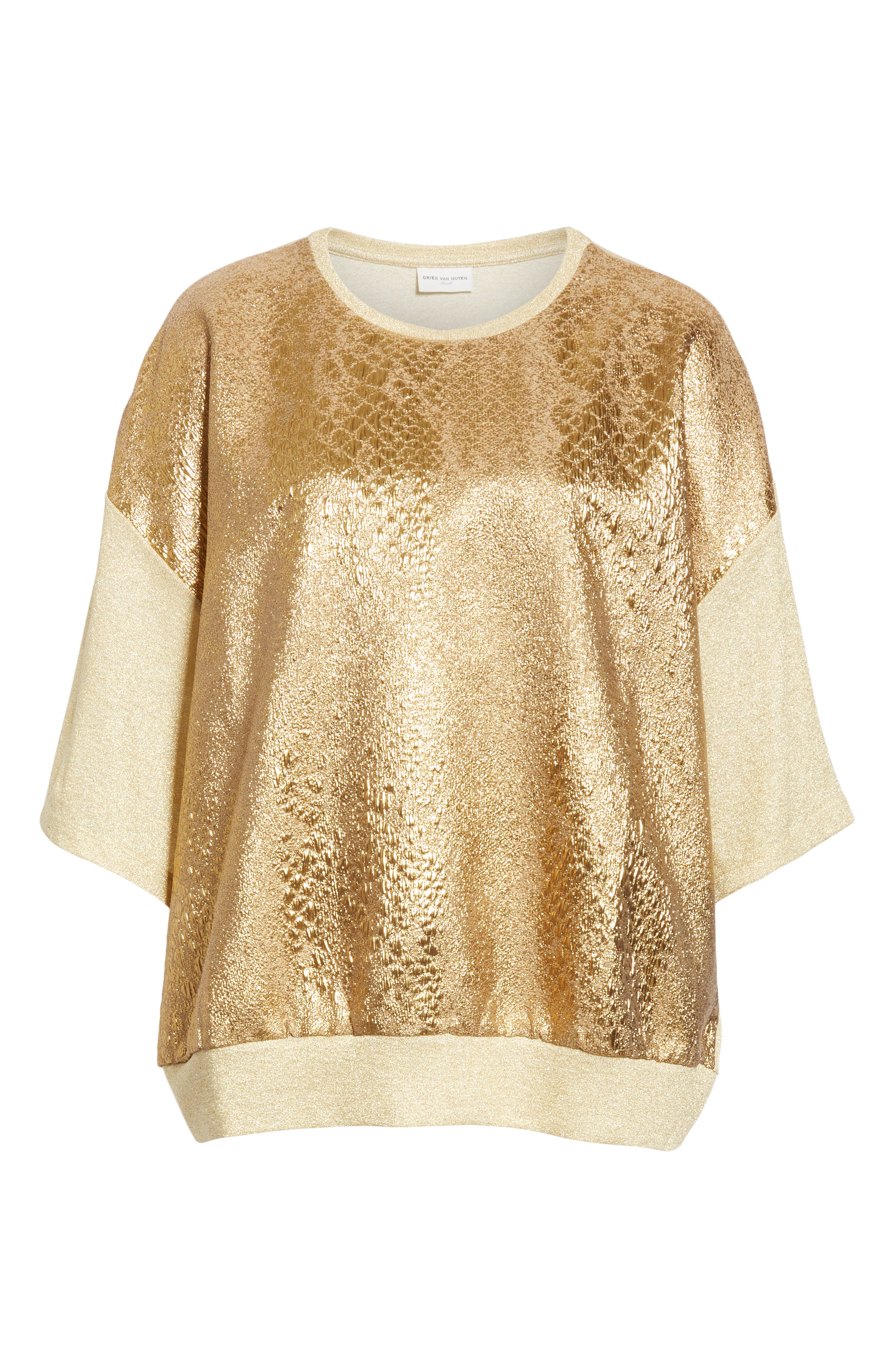 Metallic Front Knit Tee,                             Alternate thumbnail 6, color,                             GOLD
