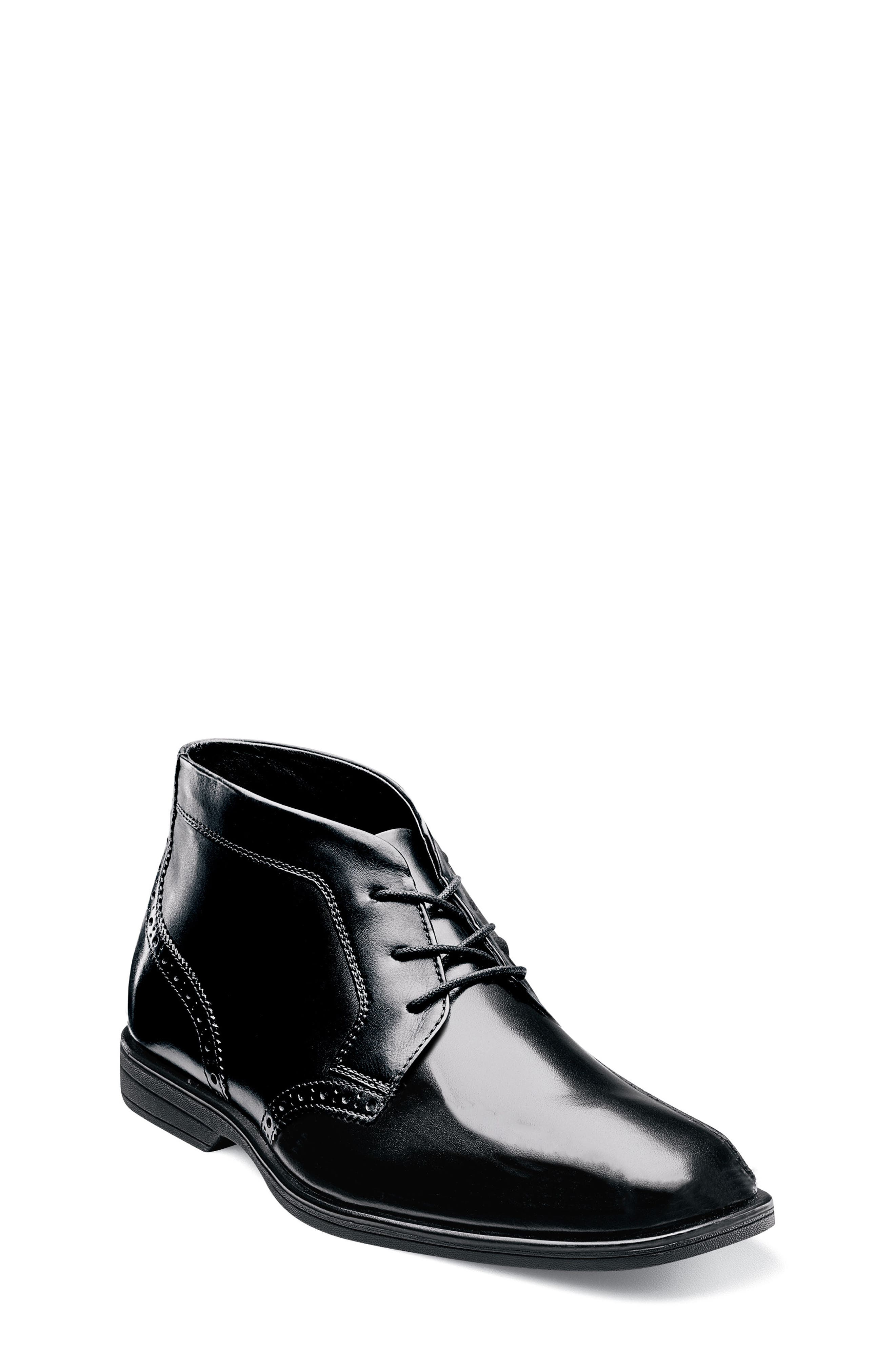 'Reveal' Chukka Boot,                             Main thumbnail 1, color,                             BLACK LEATHER