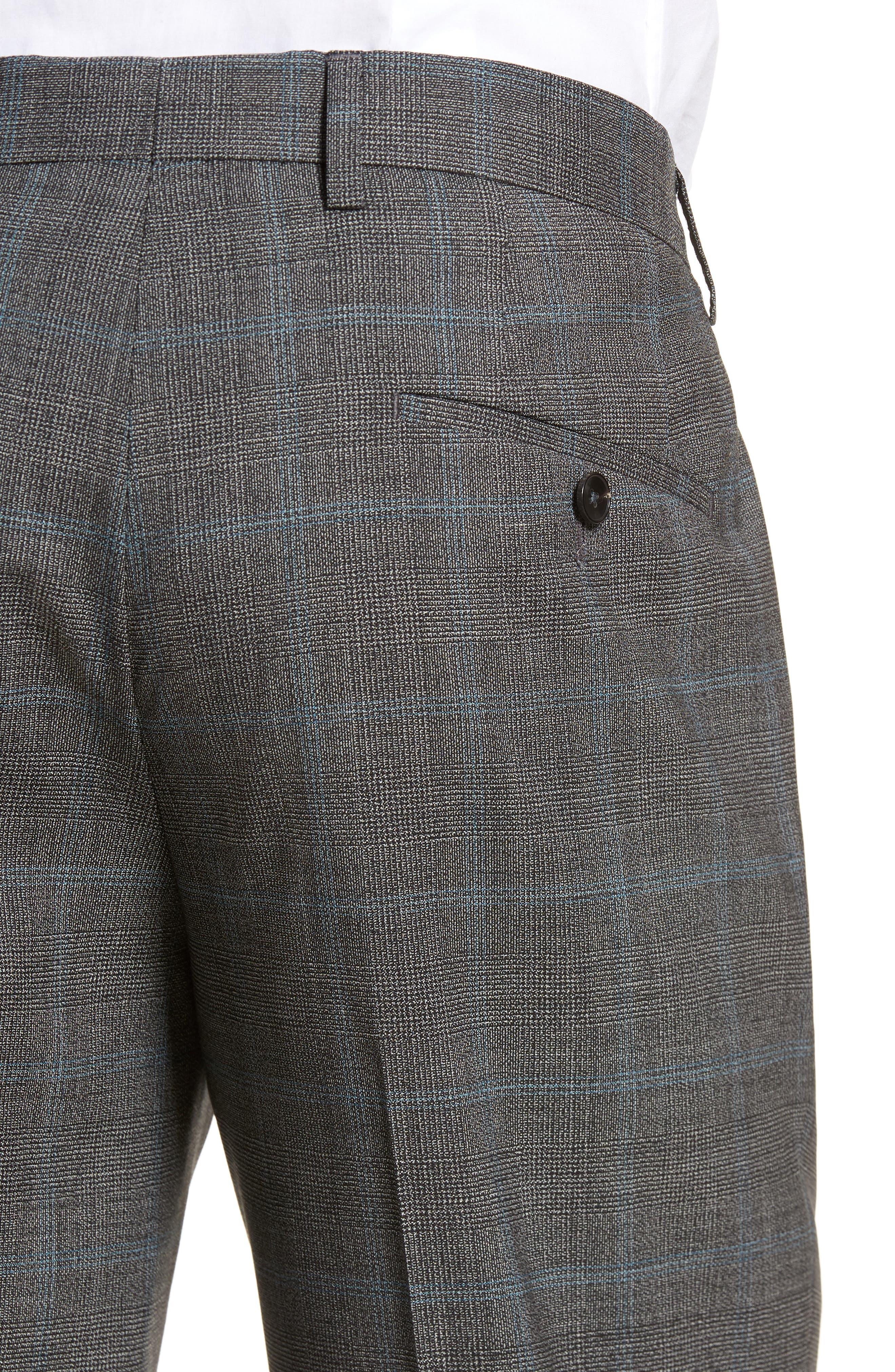 Genesis Flat Front Plaid Wool Trousers,                             Alternate thumbnail 4, color,                             061