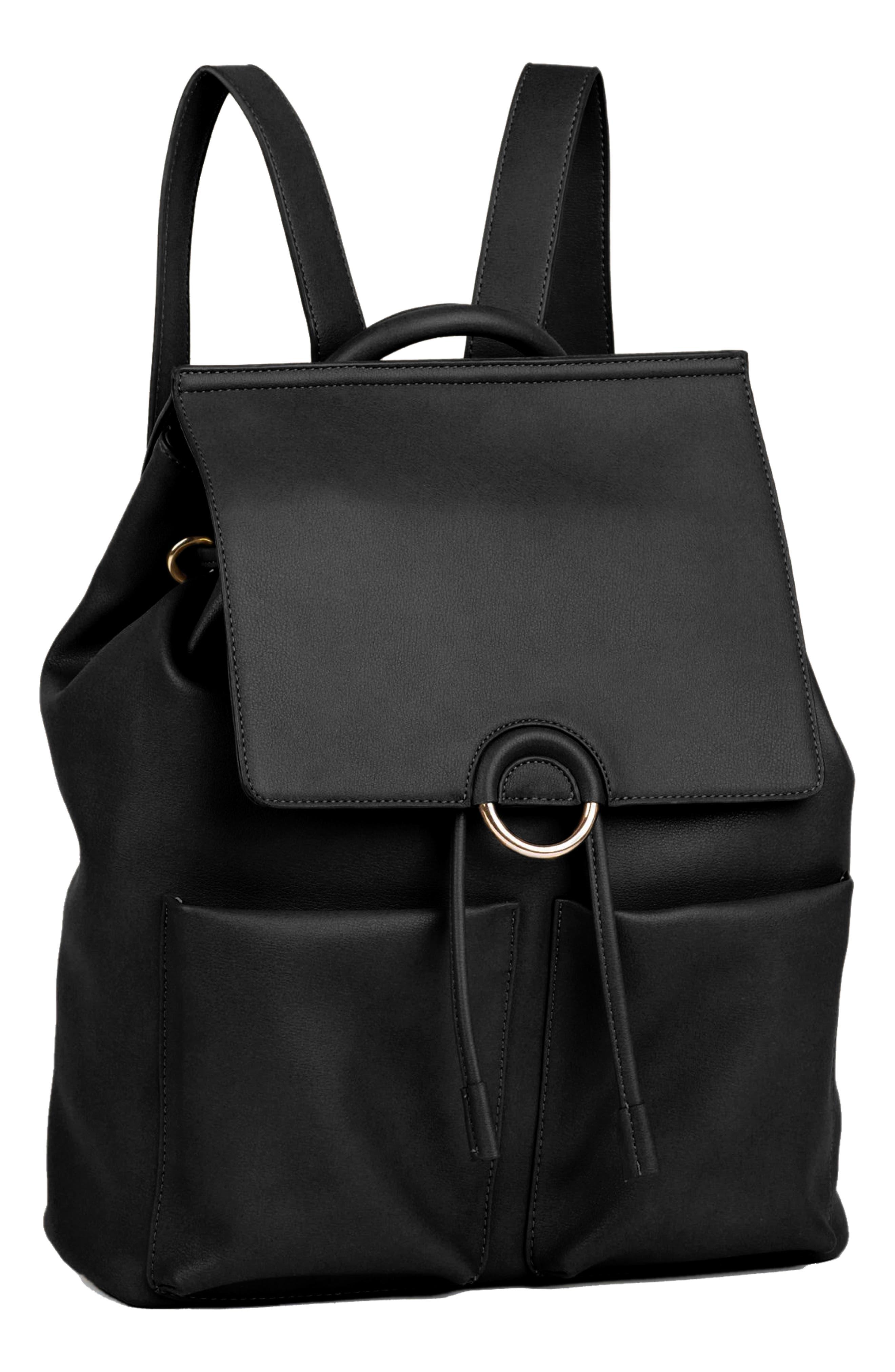 The Thrill Vegan Leather Backpack,                             Alternate thumbnail 4, color,                             BLACK