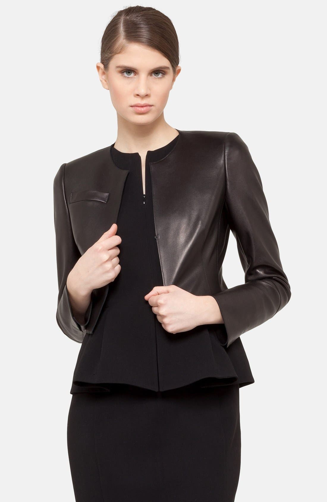 'Hasso' Leather Crop Jacket,                             Main thumbnail 1, color,                             BLACK