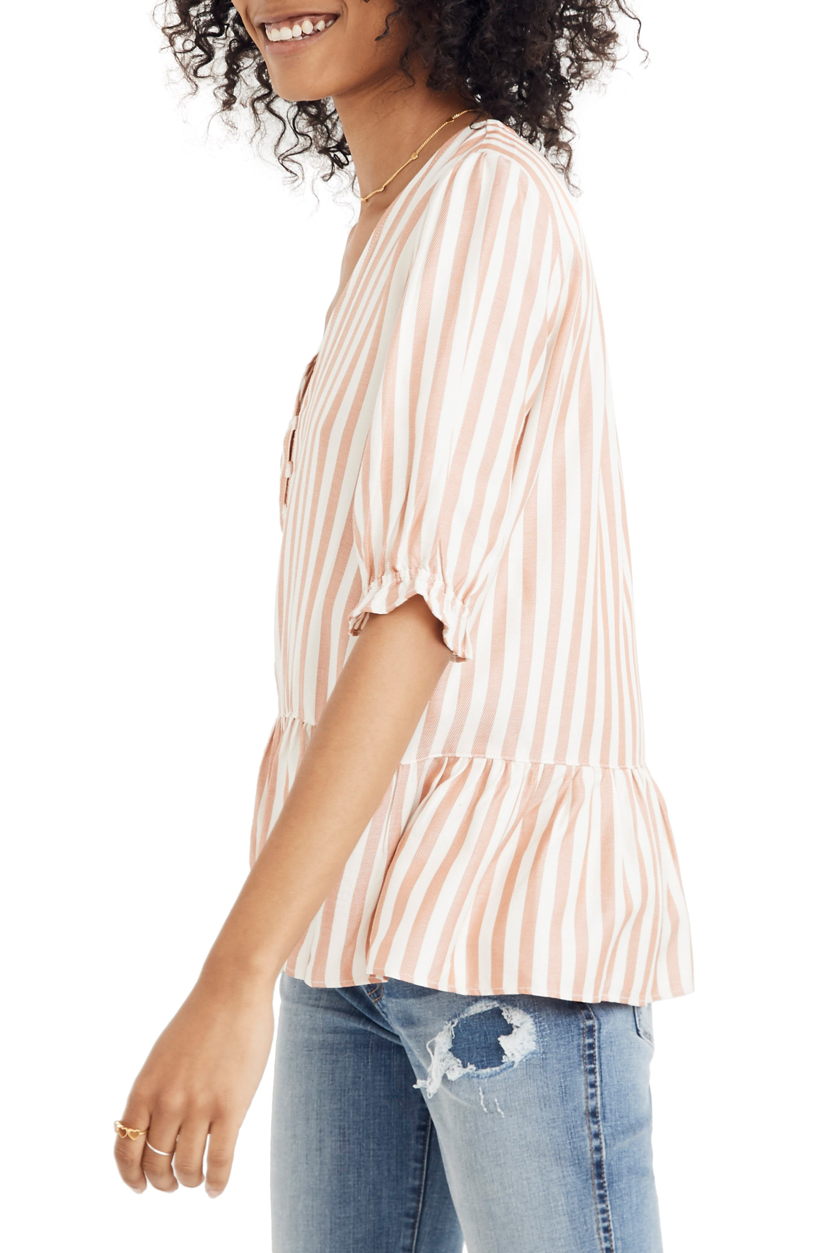 MADEWELL,                             Courtyard Ruffle Hem Top,                             Alternate thumbnail 3, color,                             STRIPE
